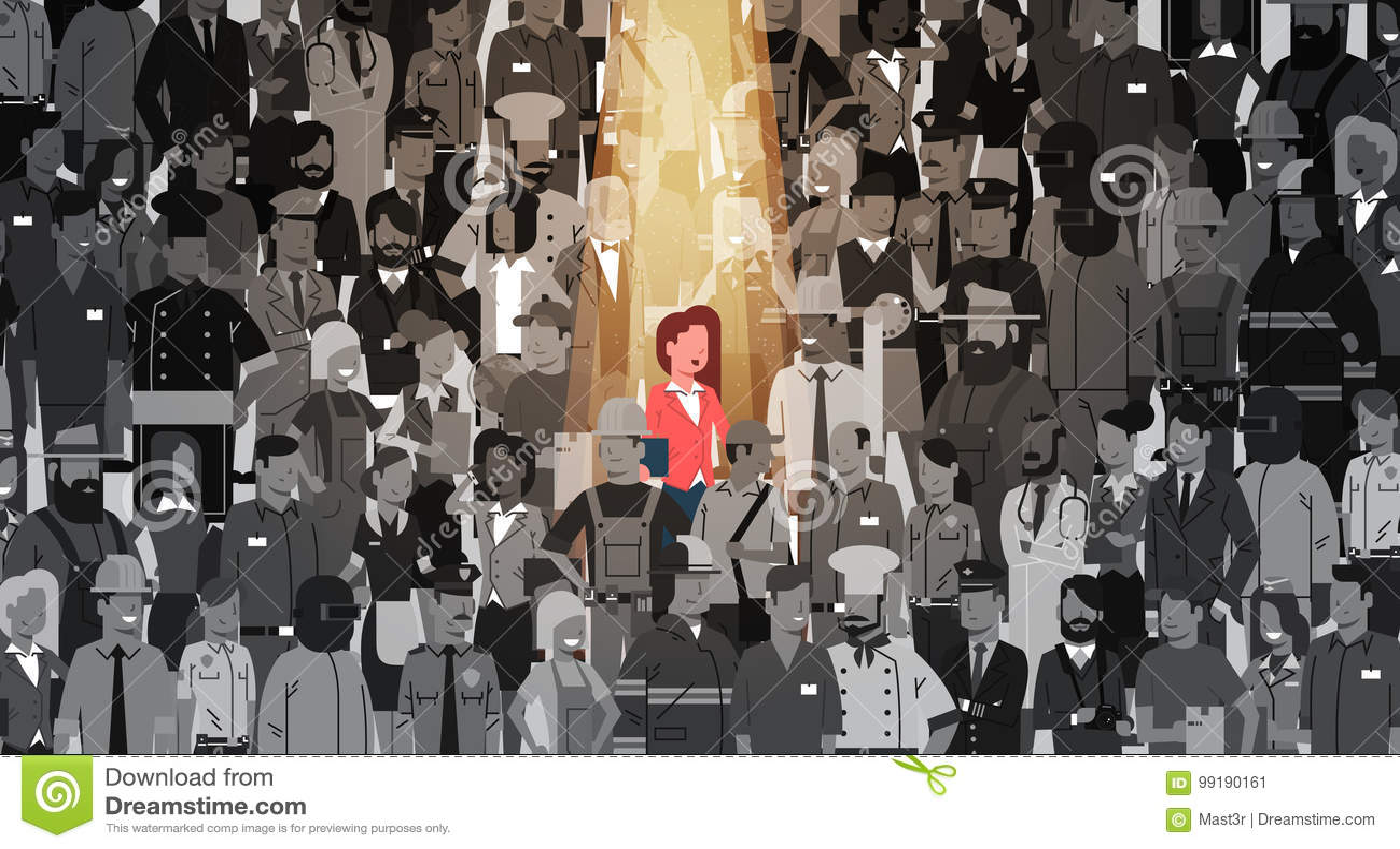 Bizneswomanu lider Stoi Out Od tłum jednostki, światła reflektorów dzierżawienia działu zasobów ludzkich kandydata grupy Rekrutac