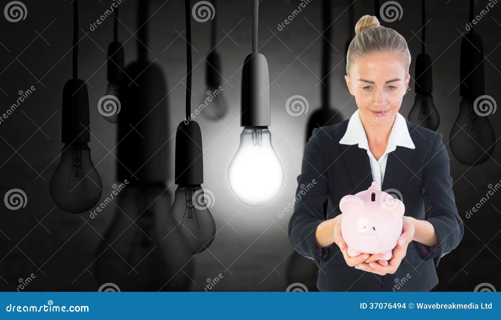 Download Bizneswomanu Mienia Menchii Prosiątka Bank Zdjęcie Stock - Obraz złożonej z innowacja, nietypowy: 37076494