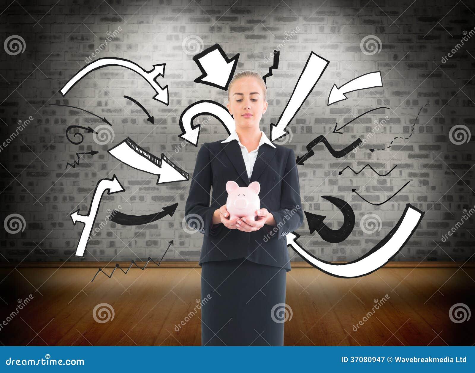 Download Bizneswomanu Mienia Menchii Prosiątka Bank Obraz Stock - Obraz złożonej z mądrze, kostium: 37080947