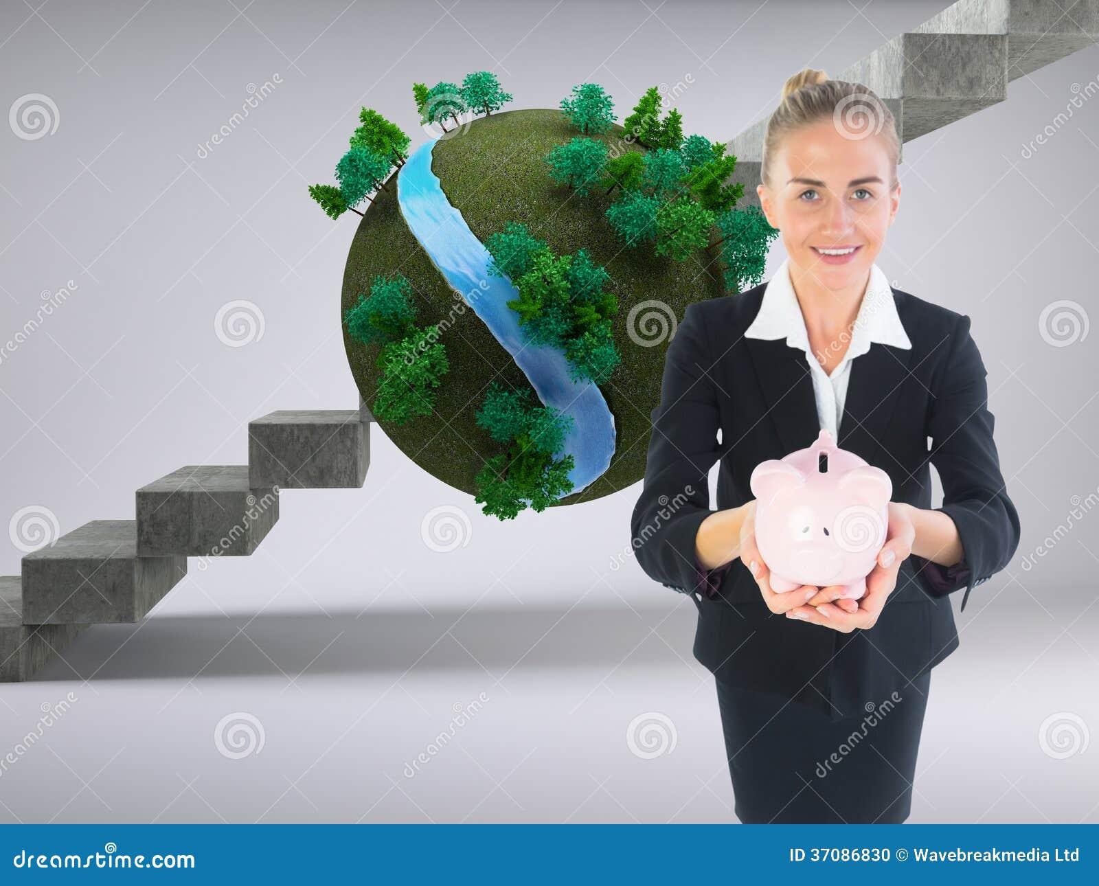 Download Bizneswomanu Mienia Menchii Prosiątka Bank Zdjęcie Stock - Obraz złożonej z jeden, futurystyczny: 37086830