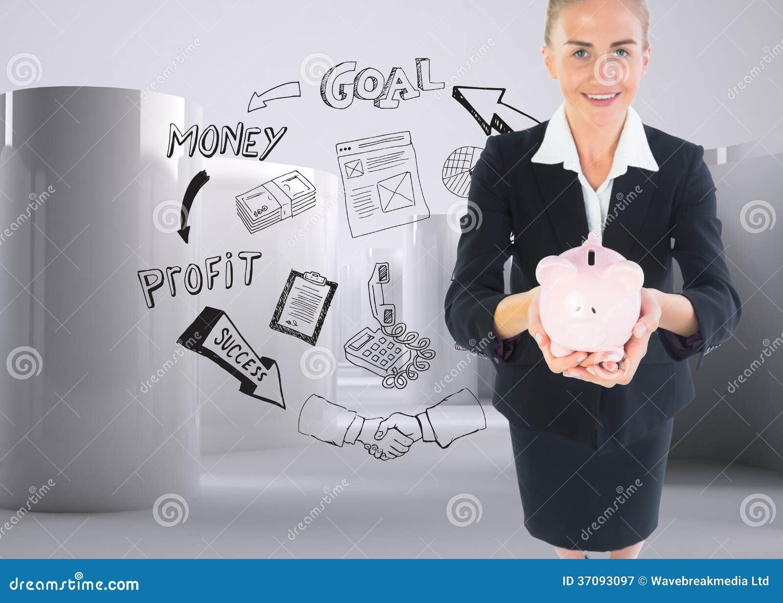 Download Bizneswomanu Mienia Menchii Prosiątka Bank Obraz Stock - Obraz złożonej z butla, mądrze: 37093097