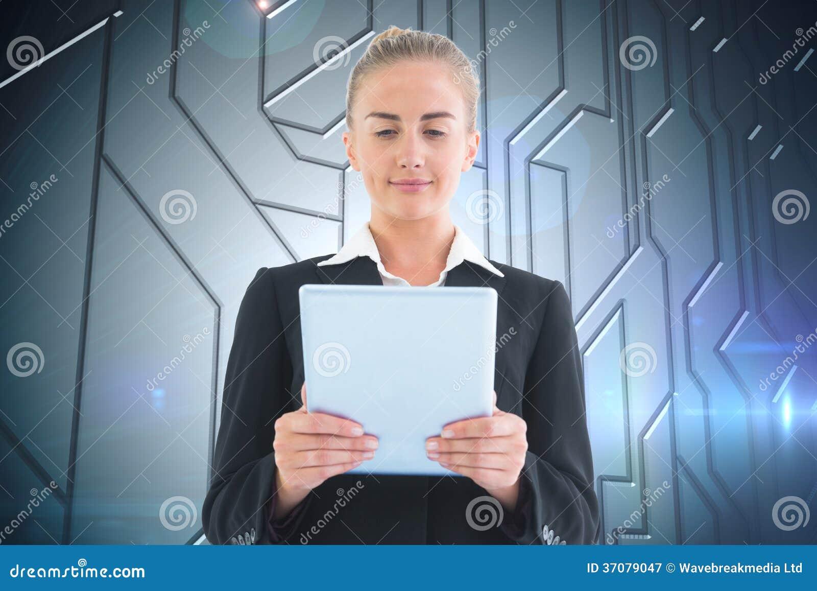 Download Bizneswomanu Mienia Pastylka Obraz Stock - Obraz złożonej z charcica, obwód: 37079047