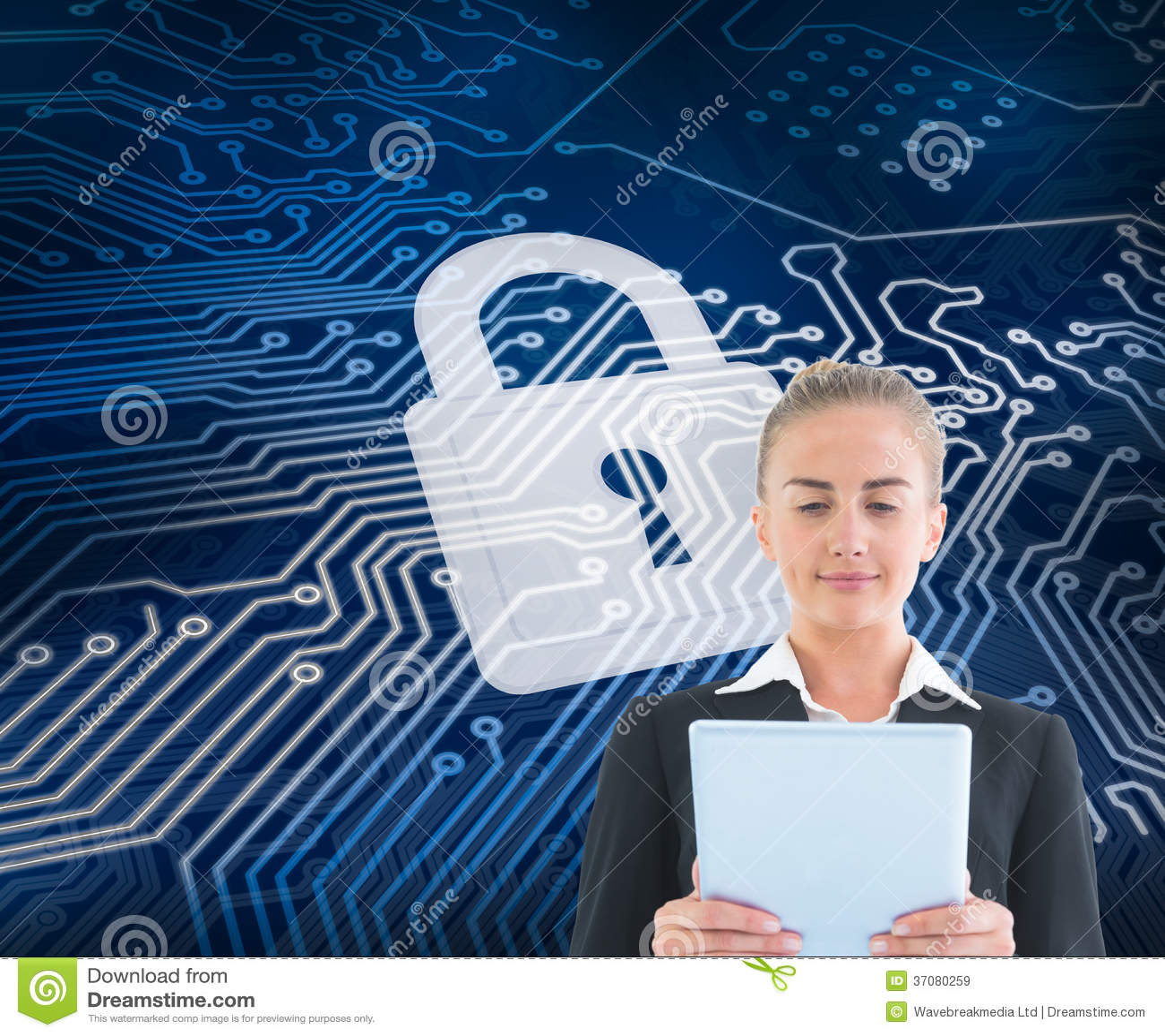 Download Bizneswomanu Mienia Pastylka Obraz Stock - Obraz złożonej z dane, futurystyczny: 37080259