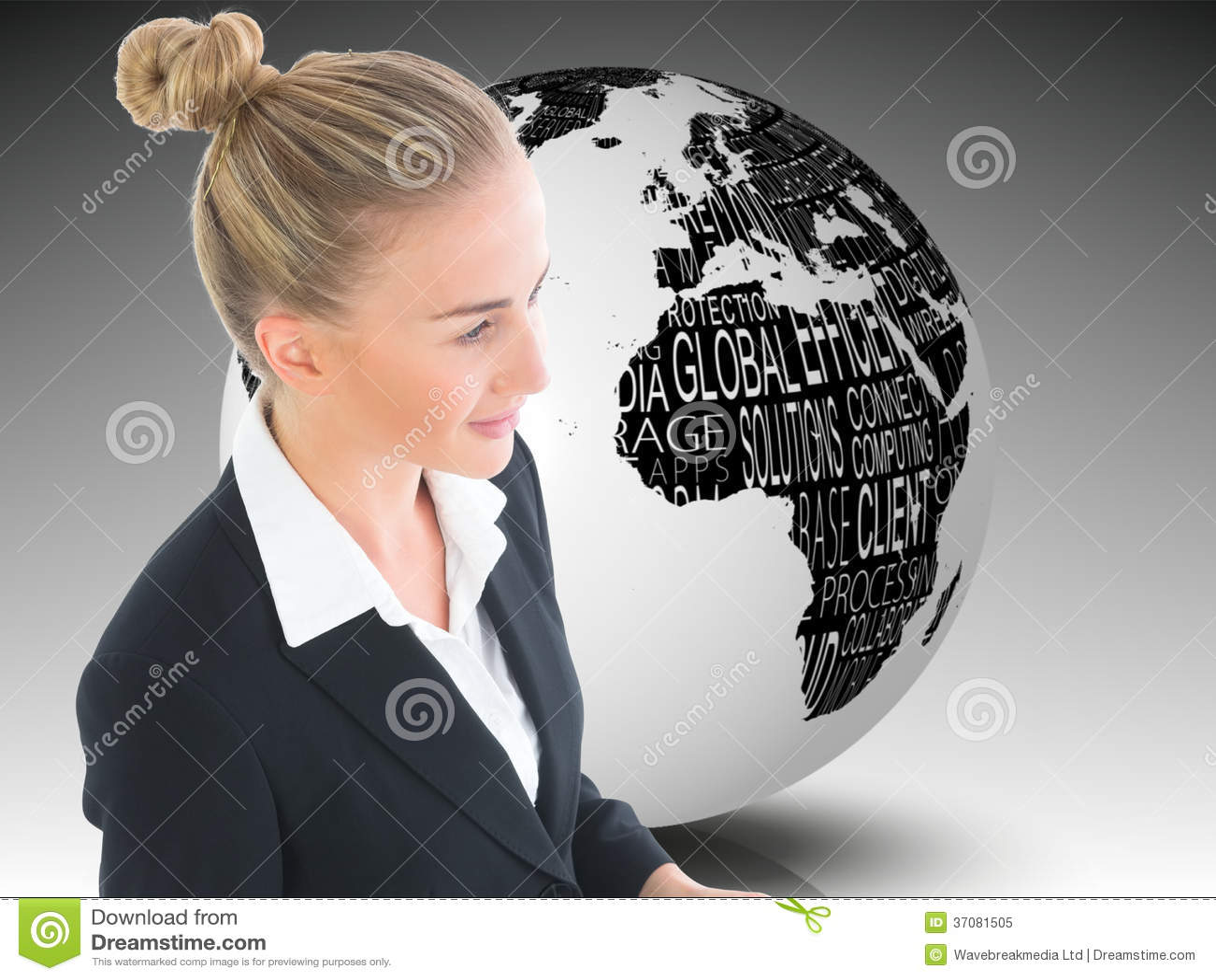 Download Bizneswomanu Mienia Pastylka Obraz Stock - Obraz złożonej z świat, potomstwa: 37081505