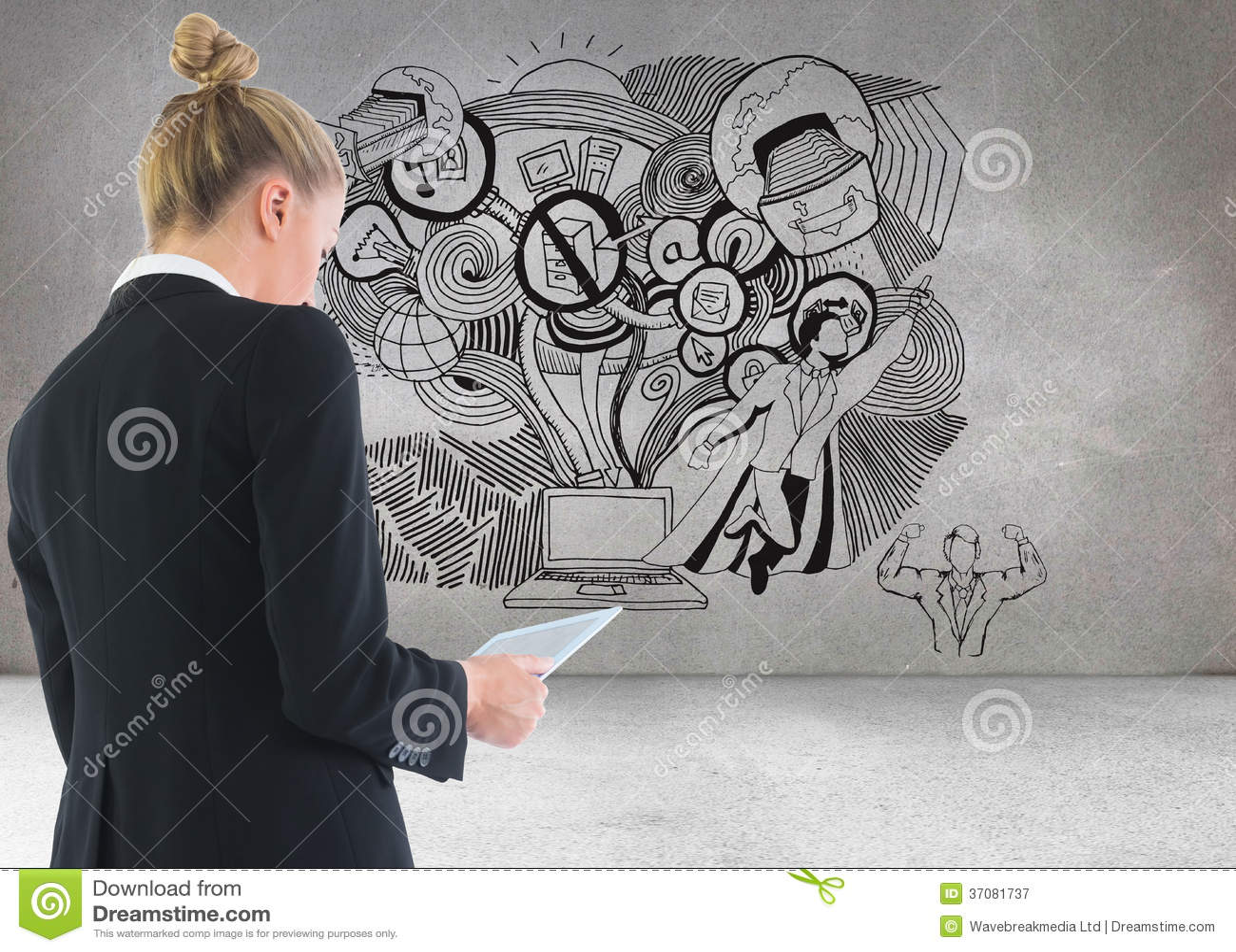 Download Bizneswomanu Mienia Pastylka Obraz Stock - Obraz złożonej z potomstwa, wallah: 37081737