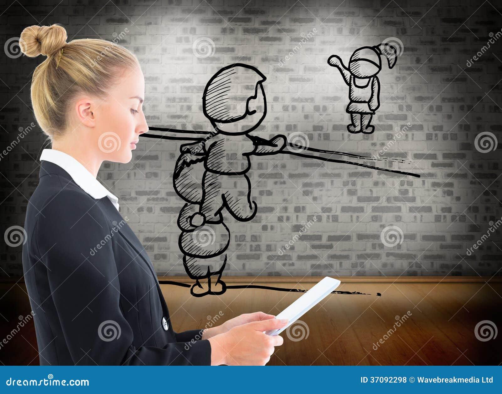 Download Bizneswomanu Mienia Pastylka Zdjęcie Stock - Obraz złożonej z światła, cegła: 37092298