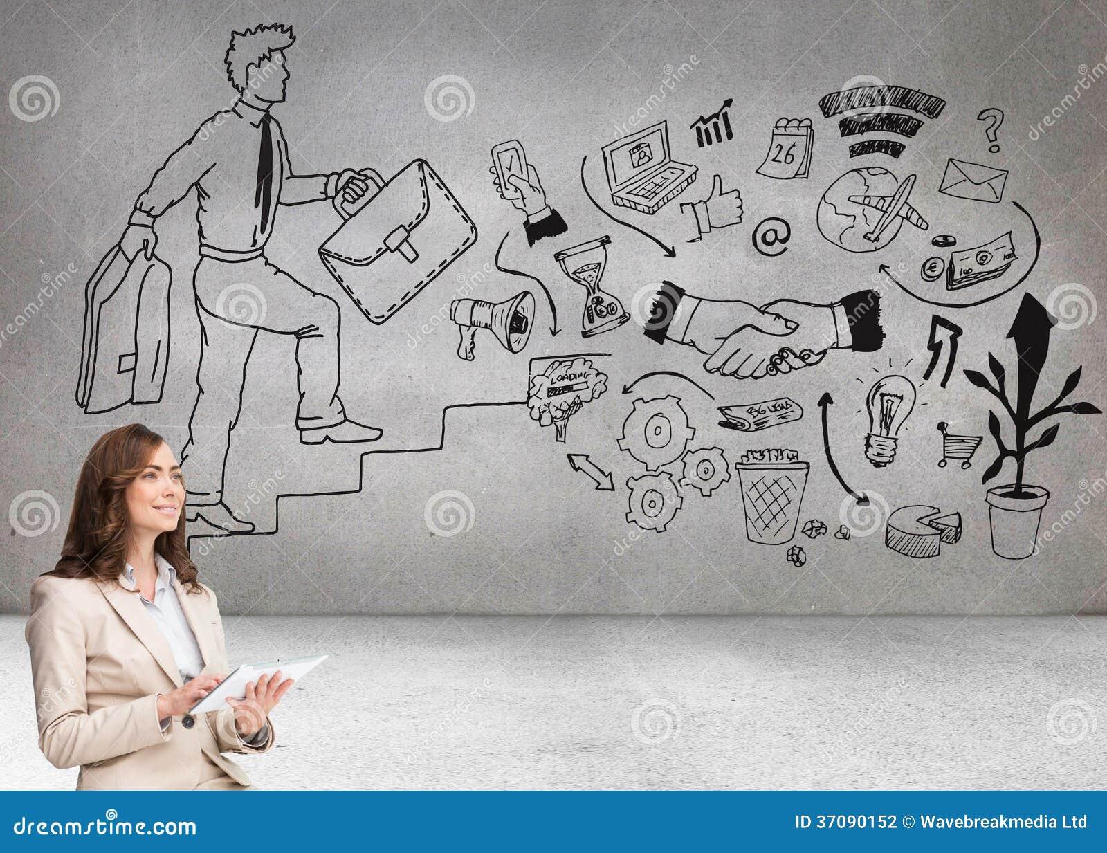 Download Bizneswomanu Mienia Pastylka I Przyglądający Up Zdjęcie Stock - Obraz złożonej z profesjonalizm, charcica: 37090152