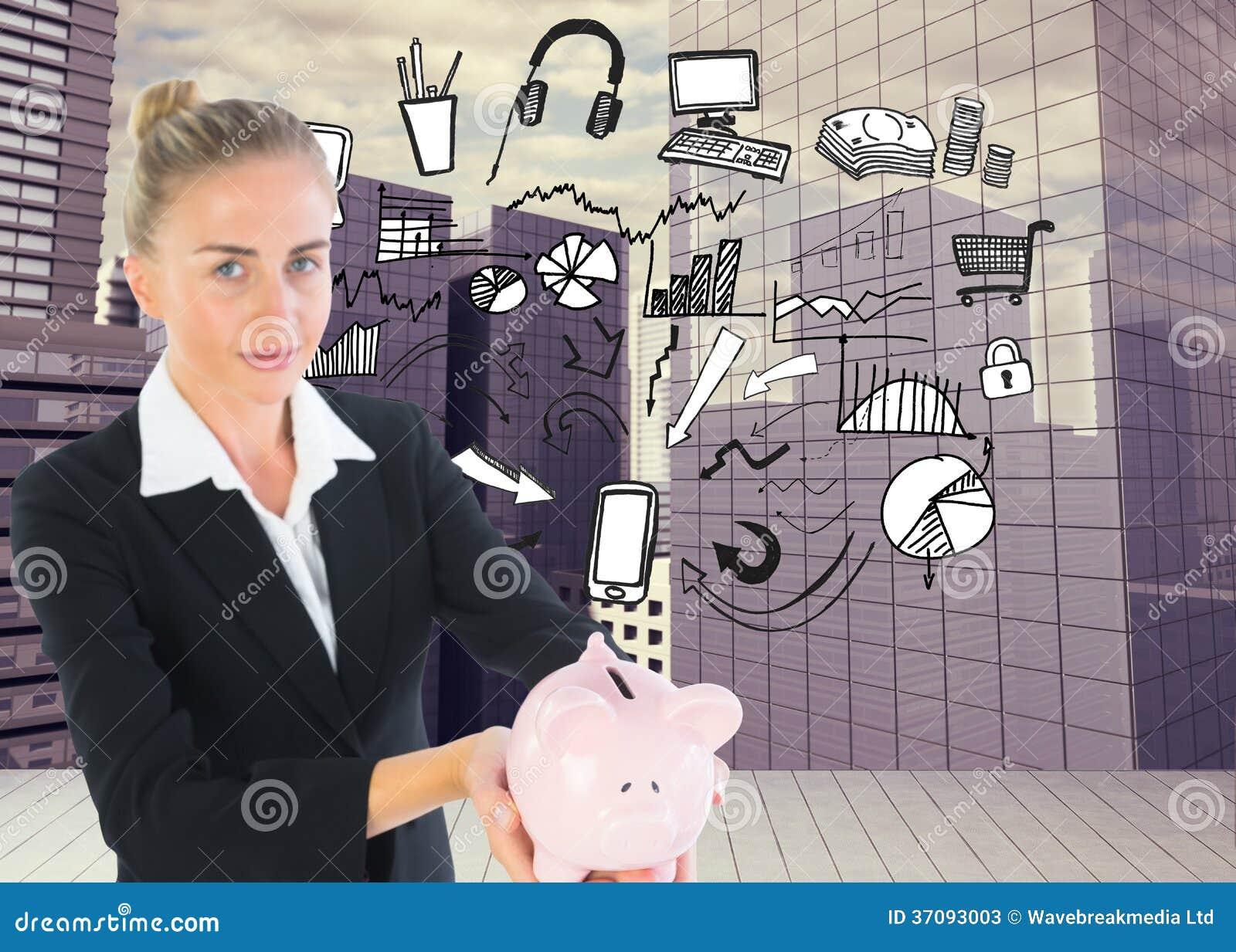 Download Bizneswomanu Mienia Prosiątka Bank Obraz Stock - Obraz złożonej z komputer, digitalis: 37093003