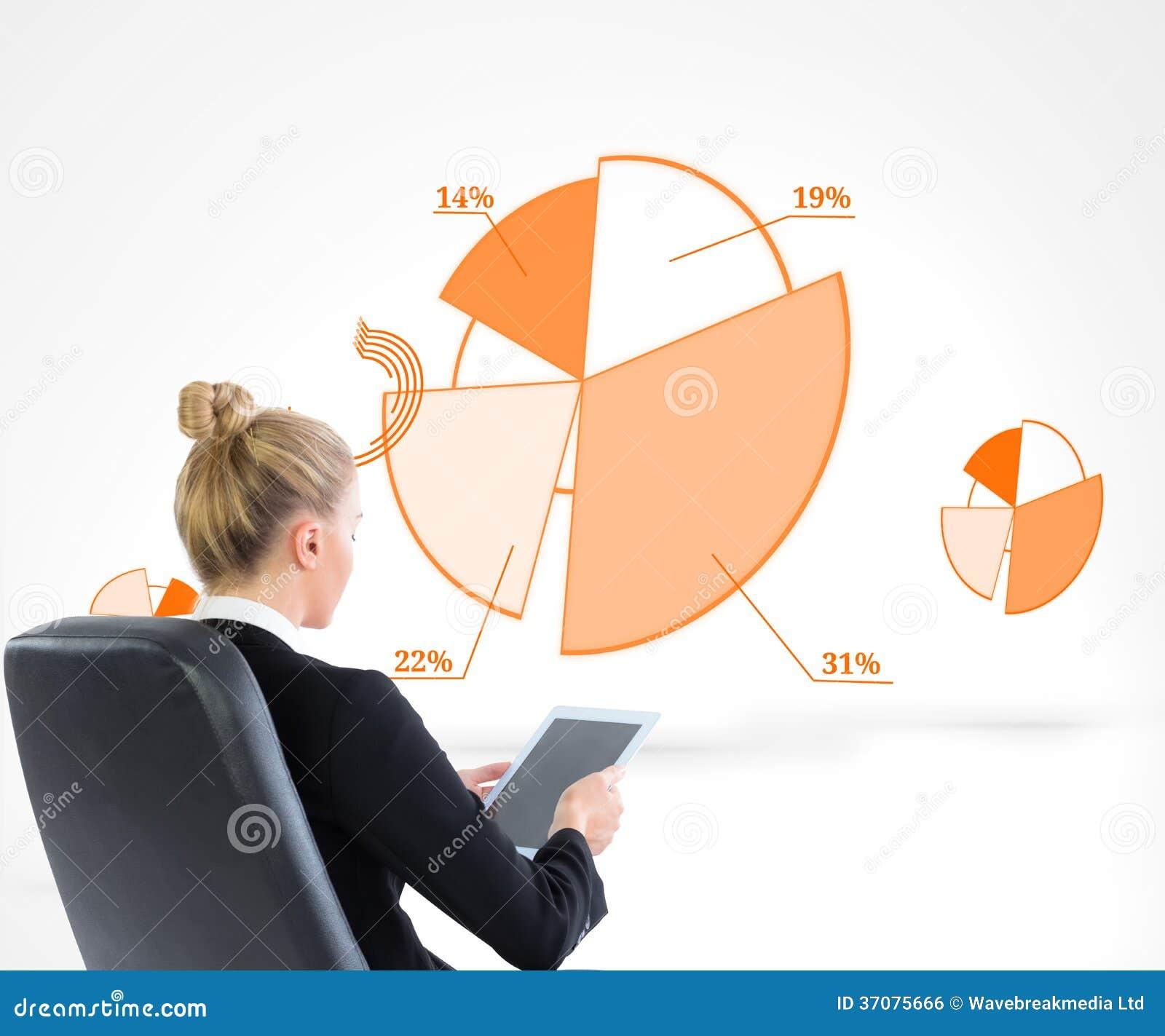 Download Bizneswomanu Obsiadanie Na Swivel Krześle Z Pastylką Zdjęcie Stock - Obraz złożonej z osoba, mapa: 37075666