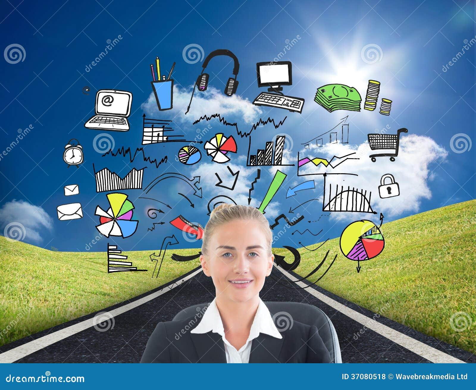 Download Bizneswomanu Obsiadanie Na Swivel Krześle Z Pastylką Zdjęcie Stock - Obraz złożonej z autostrada, digitise: 37080518