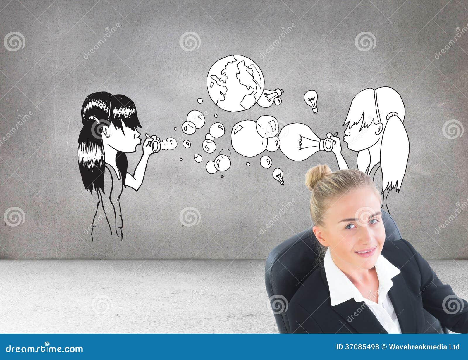 Download Bizneswomanu Obsiadanie Na Swivel Krześle Z Pastylką Zdjęcie Stock - Obraz złożonej z ziemia, bizneswoman: 37085498