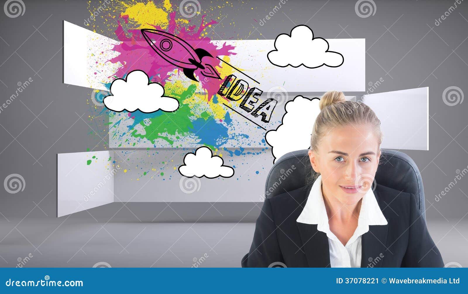 Download Bizneswomanu Obsiadanie Na Swivel Krześle Z Laptopem Obraz Stock - Obraz złożonej z abstrakt, wytwarza: 37078221