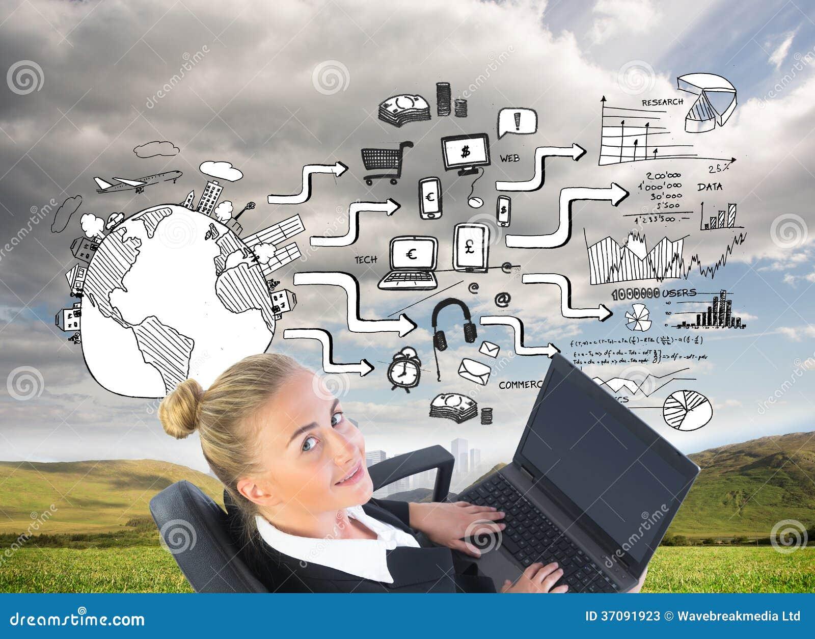 Download Bizneswomanu Obsiadanie Na Swivel Krześle Z Laptopem Obraz Stock - Obraz złożonej z strategia, globalny: 37091923