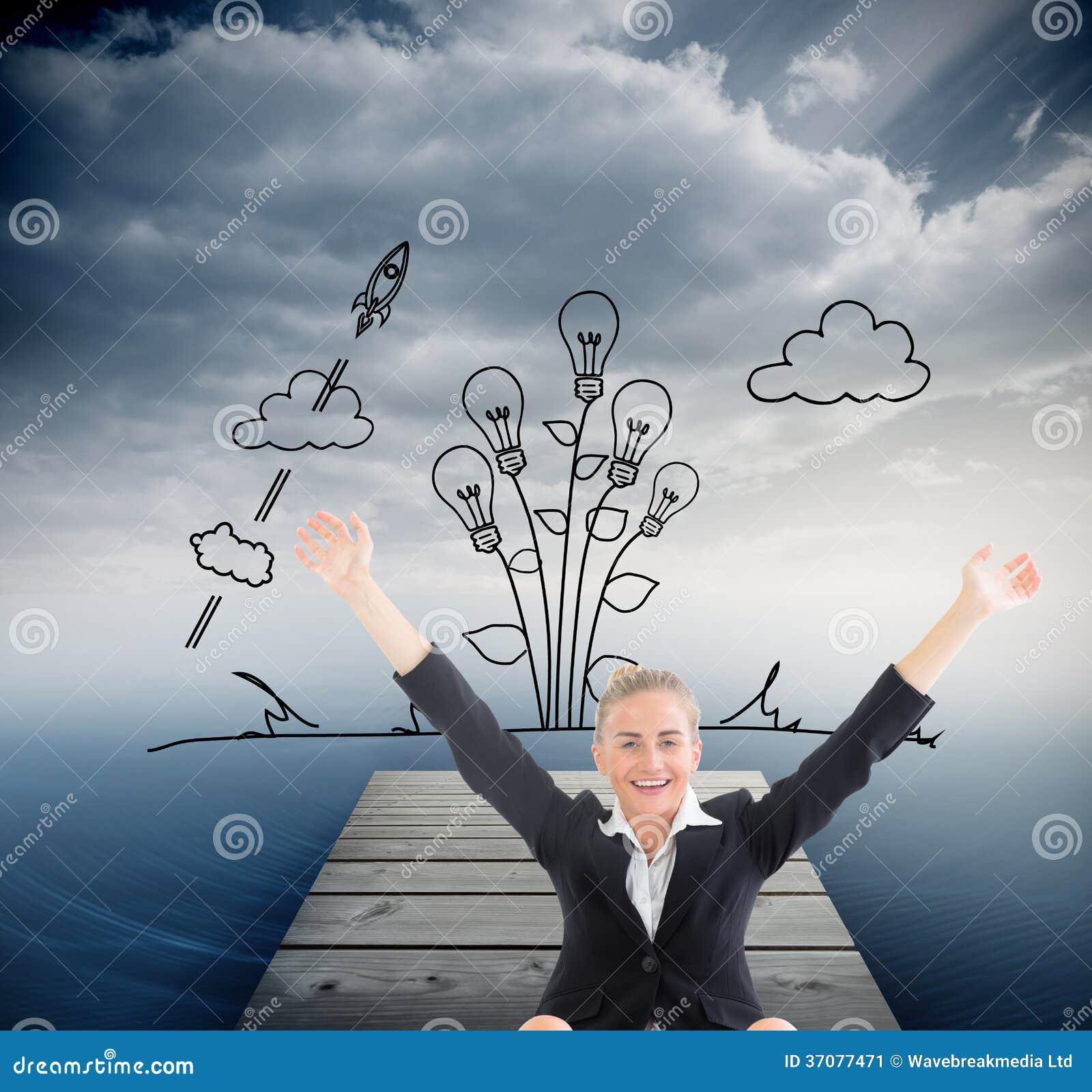 Download Bizneswomanu Obsiadanie Przed Laptopem Z Rękami Up Ilustracji - Ilustracja złożonej z ocean, roślina: 37077471