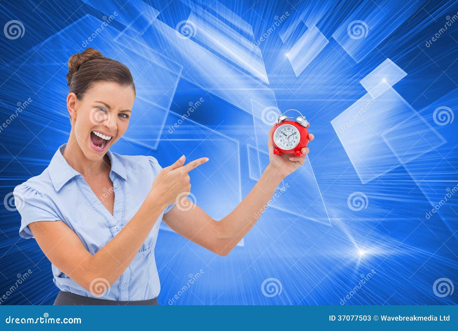 Download Bizneswomanu Wskazujący Budzik Obraz Stock - Obraz złożonej z wyznaczający, futurystyczny: 37077503