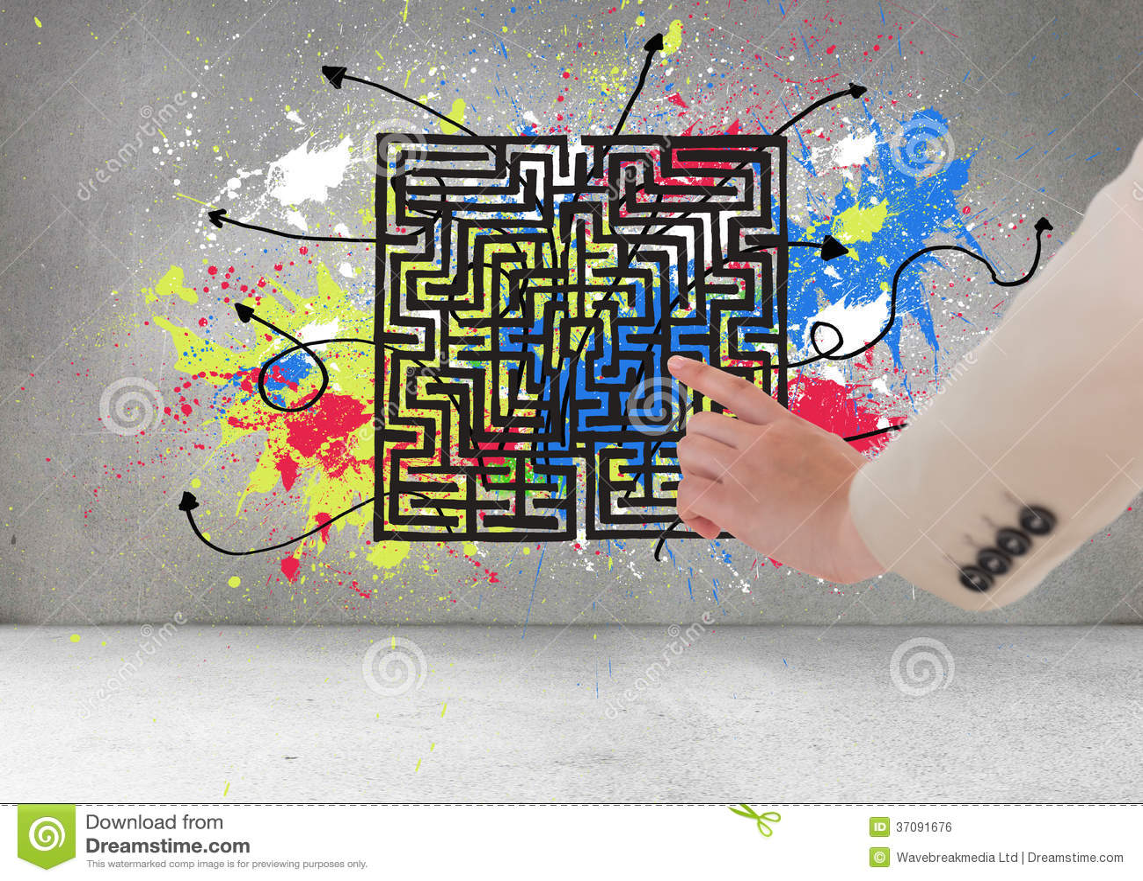 Download Bizneswomanu wskazywać zdjęcie stock. Obraz złożonej z doodle - 37091676