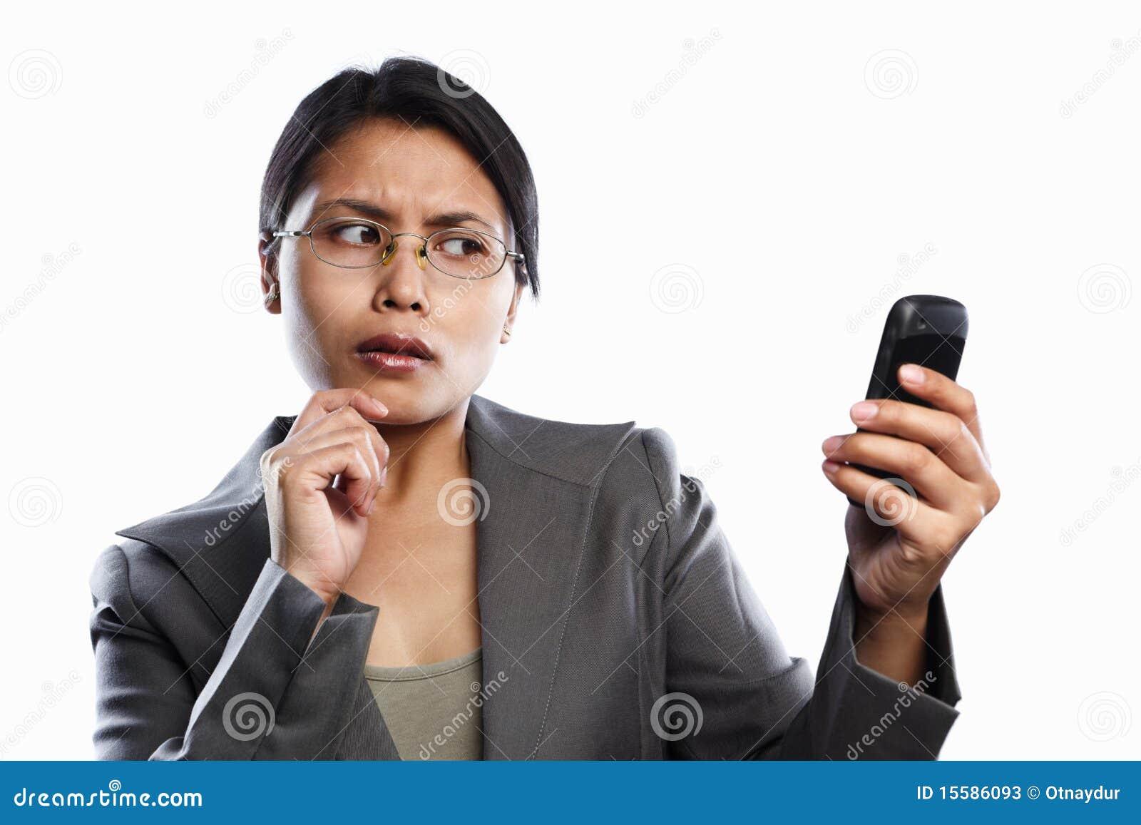 Bizneswomanu wyrażenie wywoławczy ciekawy używać wideo