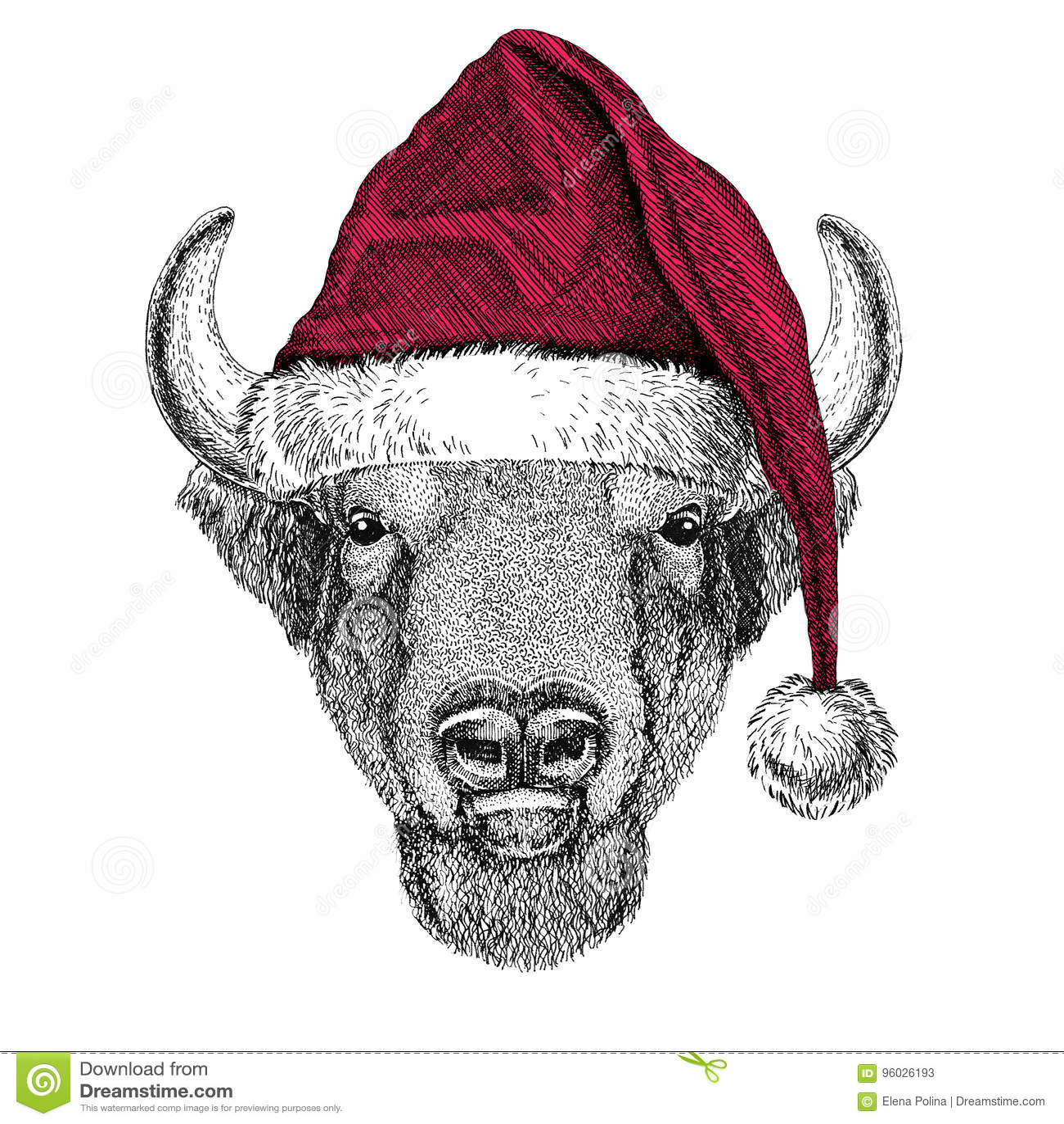 Bizon, żubr, wół, byka Bożenarodzeniowy ilustracyjny dzikie zwierzę jest ubranym bożego narodzenia Santa Claus zimy kapeluszu kap