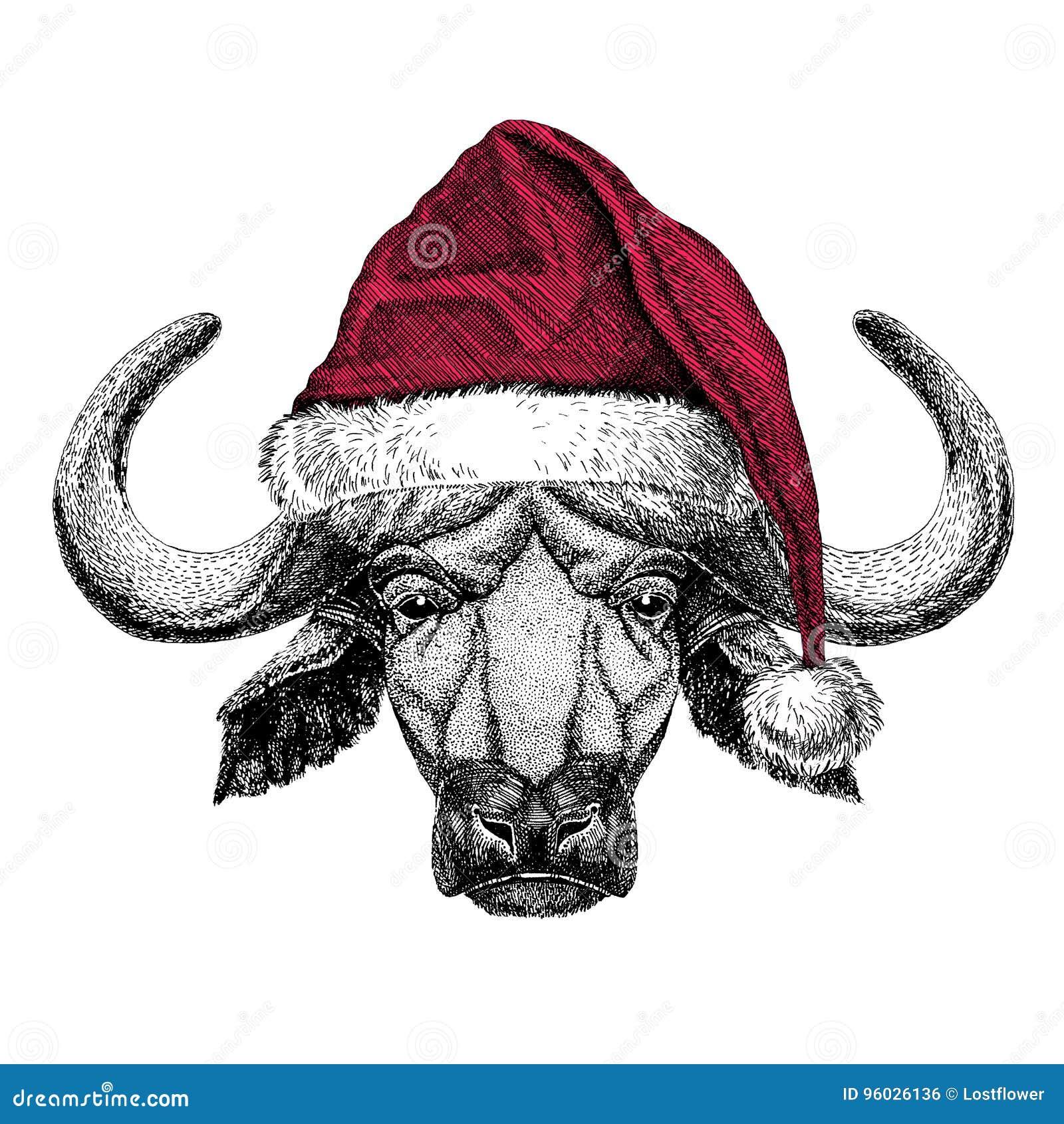 Bizon, byk, wołowy Bożenarodzeniowy ilustracyjny dzikie zwierzę jest ubranym bożego narodzenia Santa Claus kapeluszowej Czerwonej
