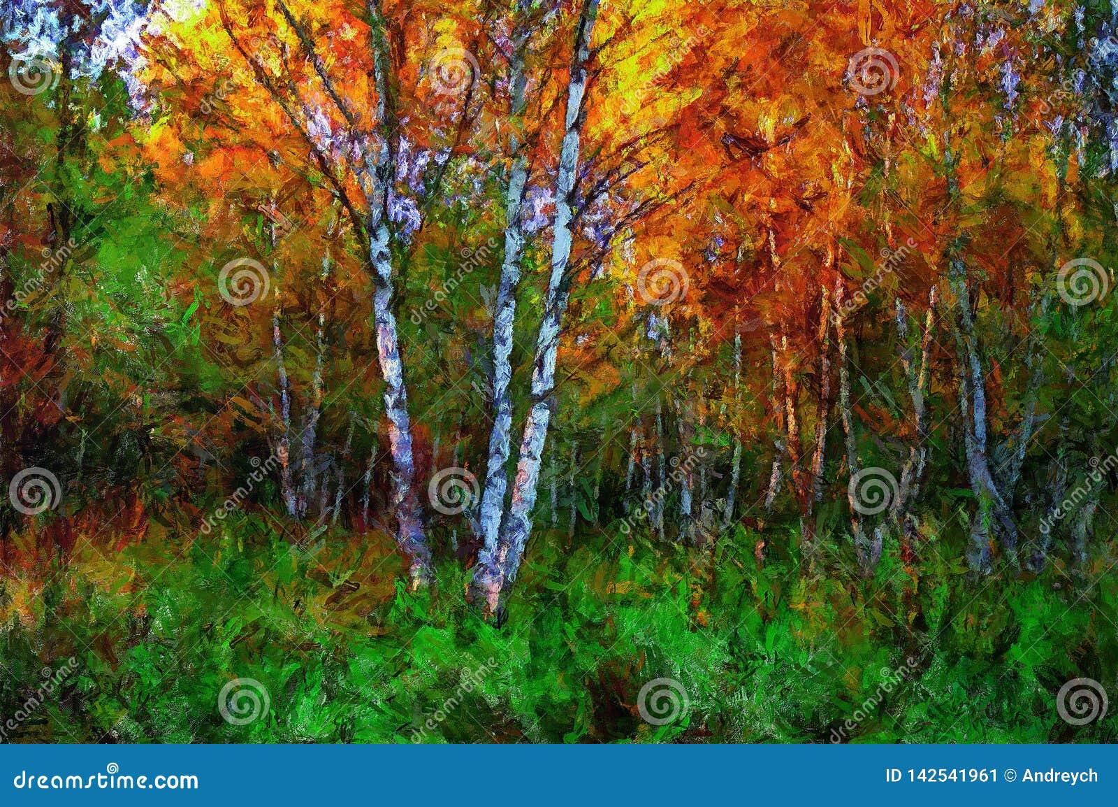 Björk för oljamålning i mitt av gräs i höst