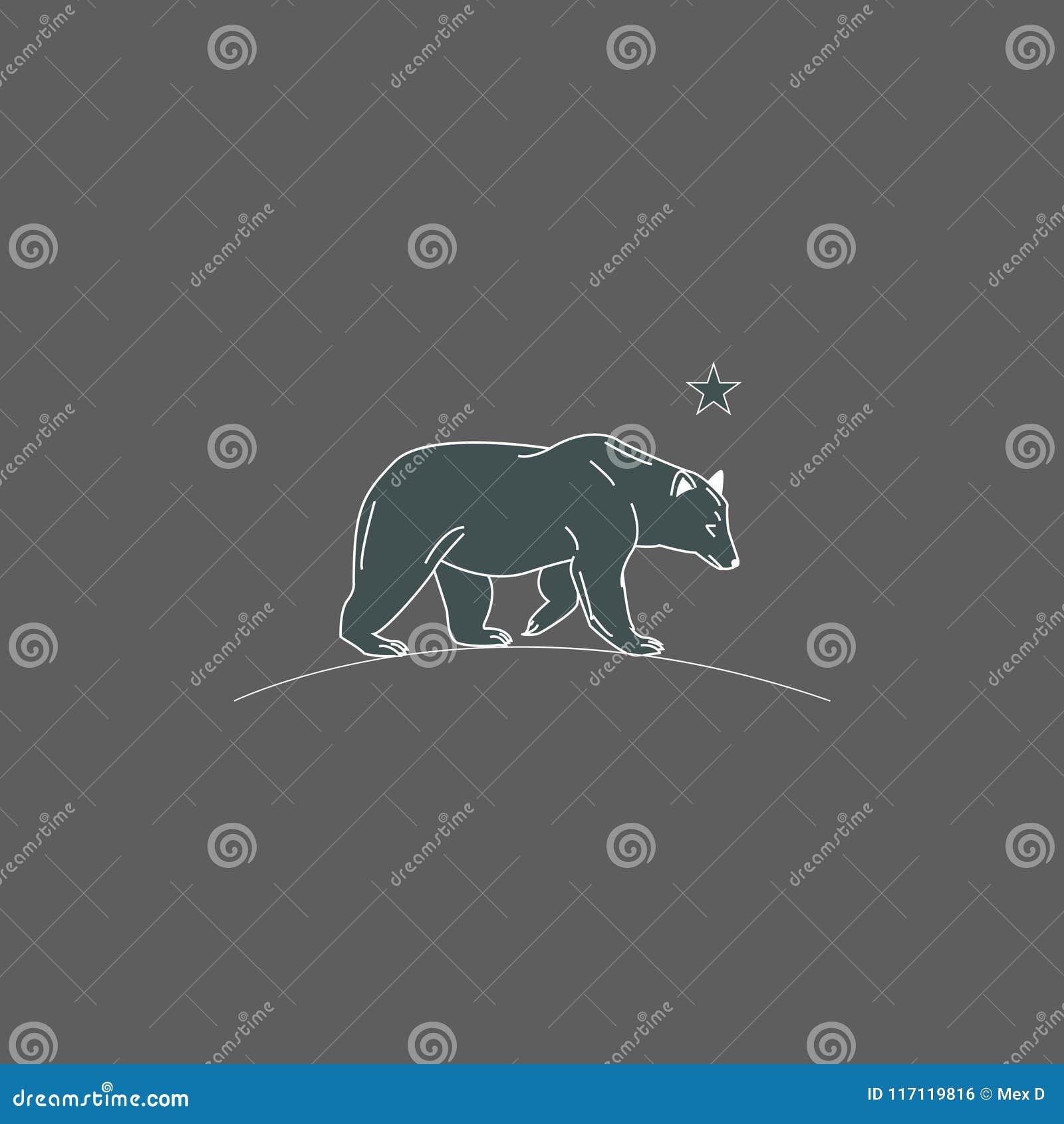 Björnillustrationen kör på natten