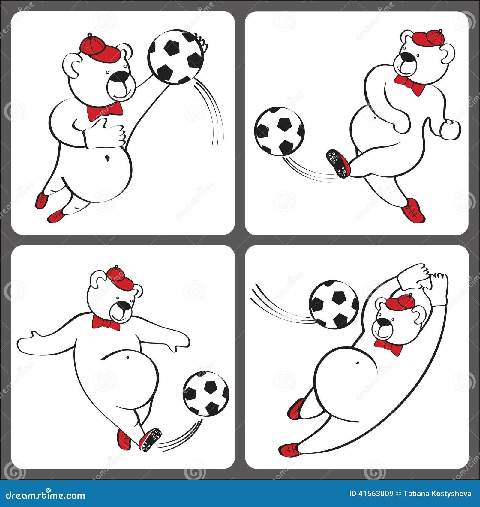 Björnlekfotboll Humoristisk illustrationuppsättning för tecknad film