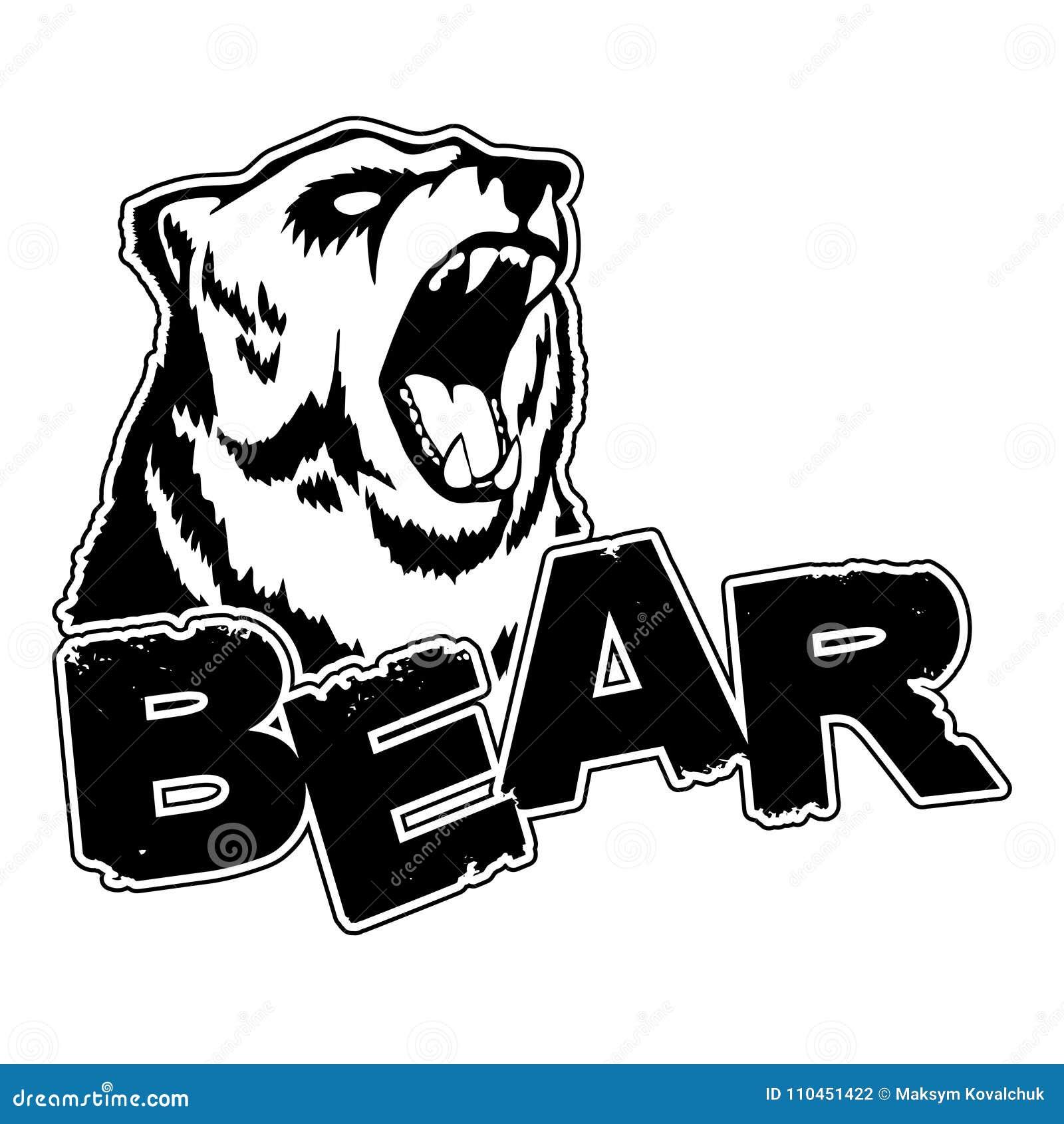 Björnlogo på en isolerad vit bakgrund