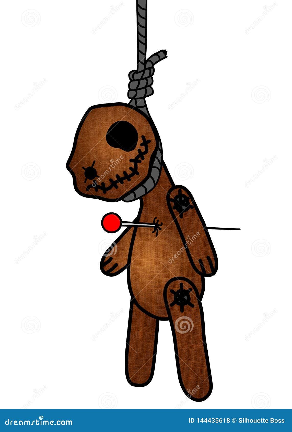 Bj?rn f?r voodoo f?r allhelgonaaftonfasaandlighet kelig, docka som punkteras av ben/tr?ngt igenom h?nga p? galgen ?versikter kont