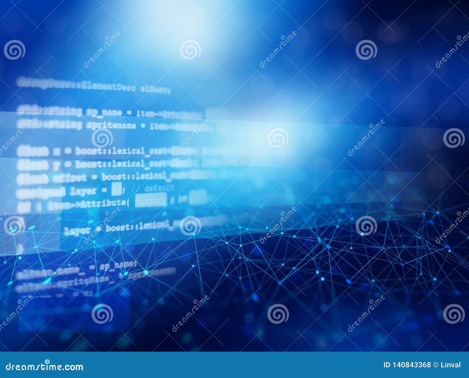 Blå abstrakt bakgrund av nätverksanslutningar