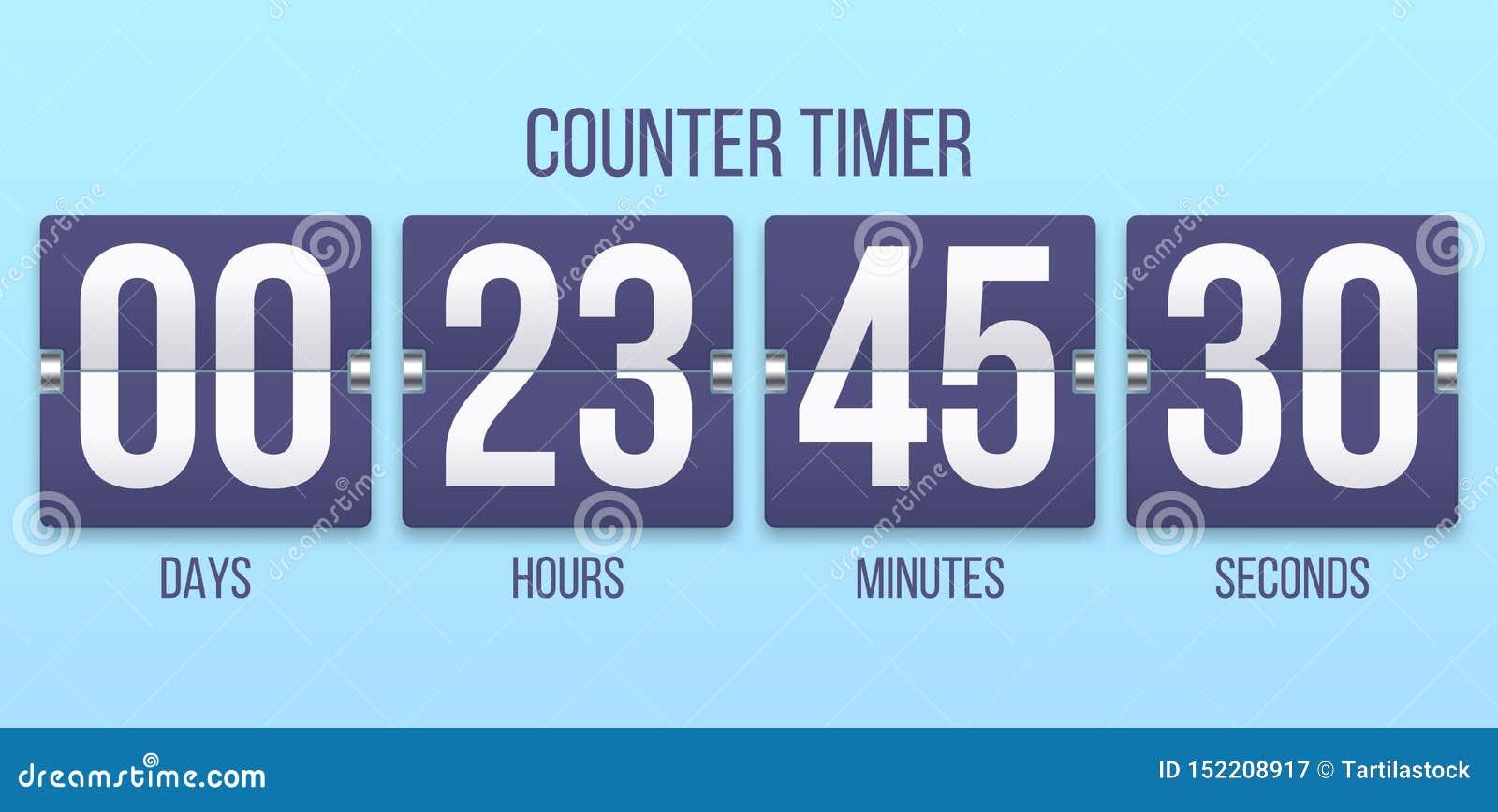 Bläddra klockatidmätaren Dagar för nedräkningräknare och att räkna timmar och minutnummer Illustration för Flipclock tidmätarevek