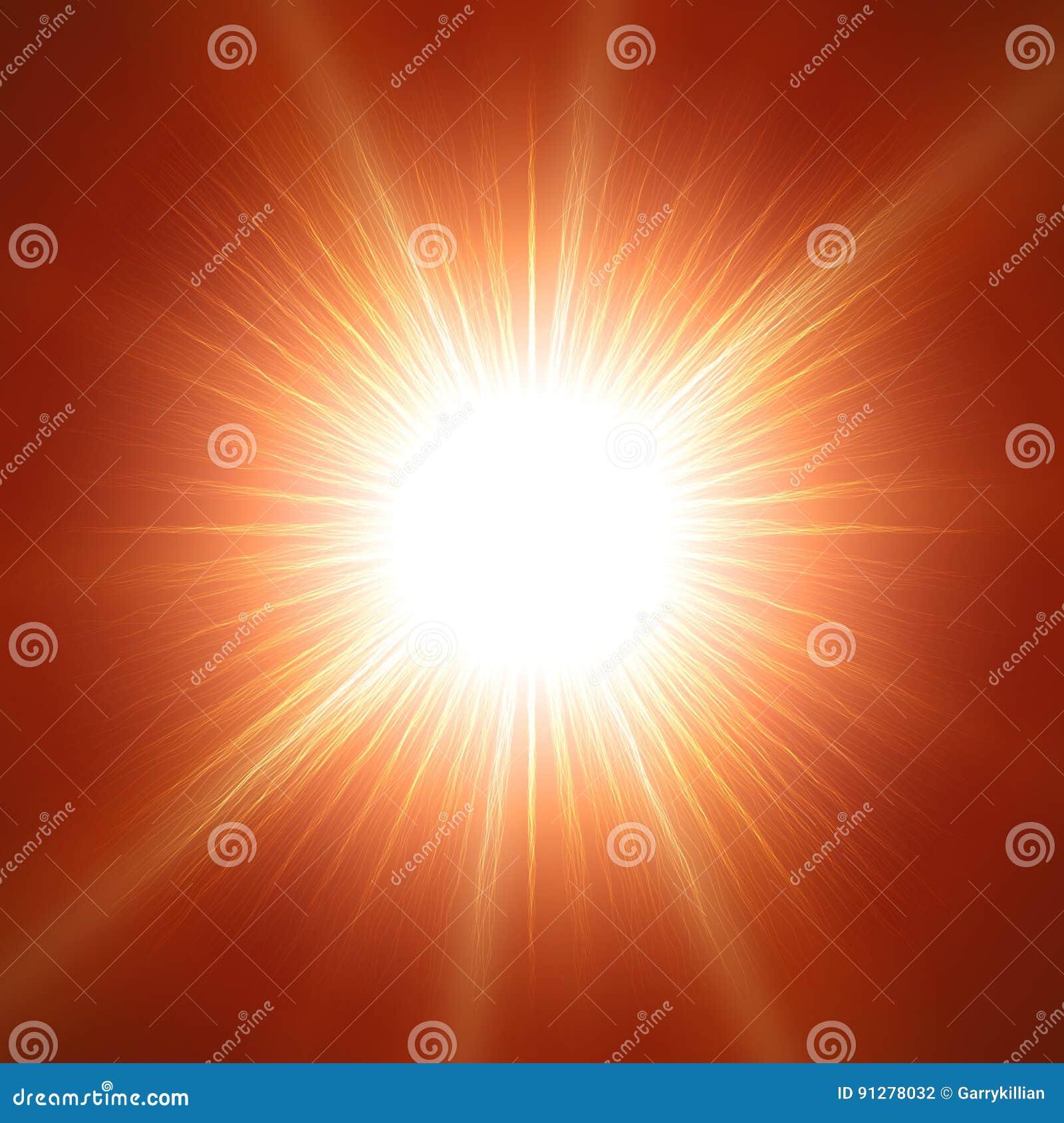 Bländande sol med linsen över röd bakgrund Realistisk vektorsolillustration