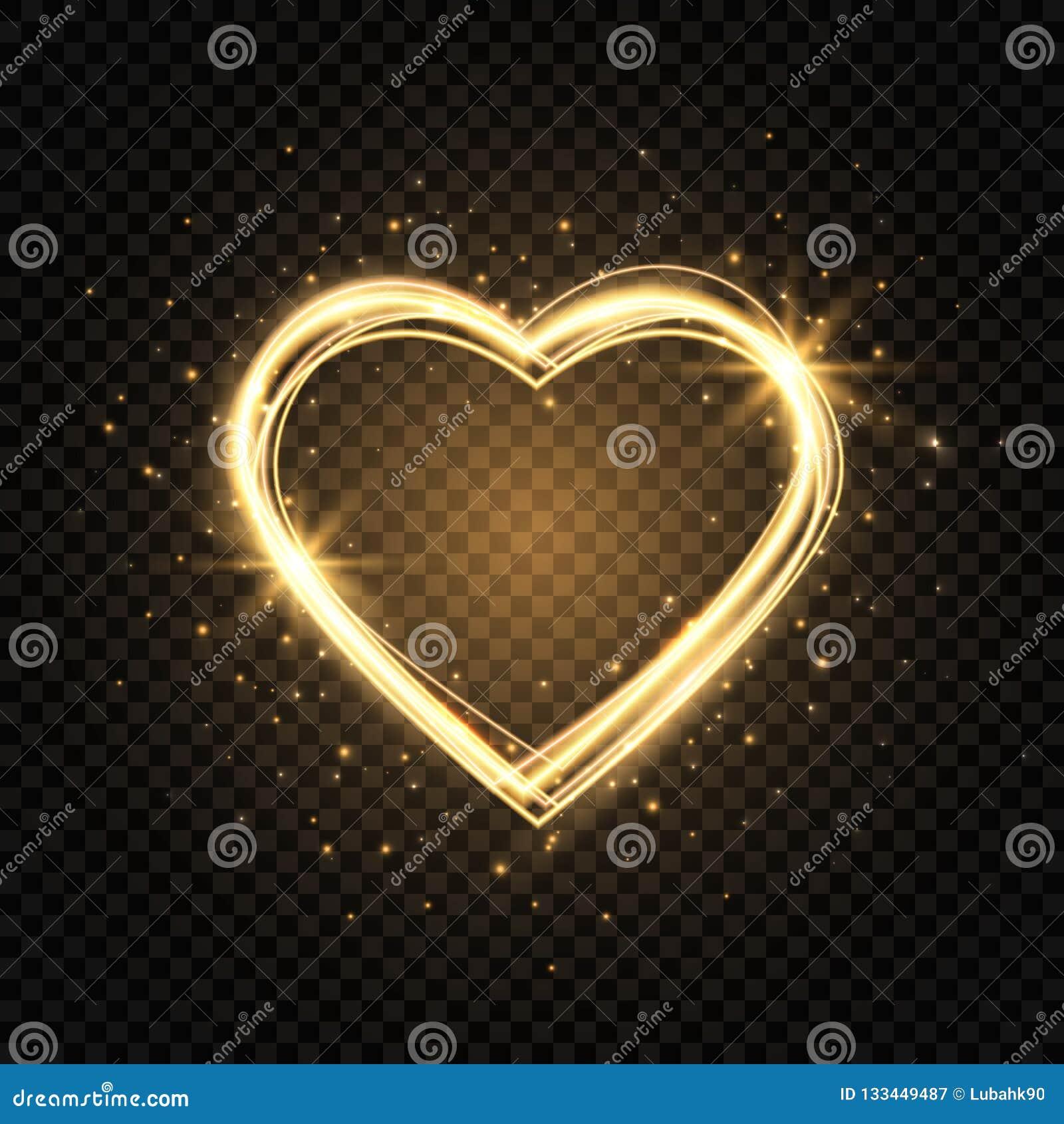Blänka guldhjärtaramen med utrymme för text Hjärta med guld- ljus Lyckligt valentindagkort med glödande hjärta brigham