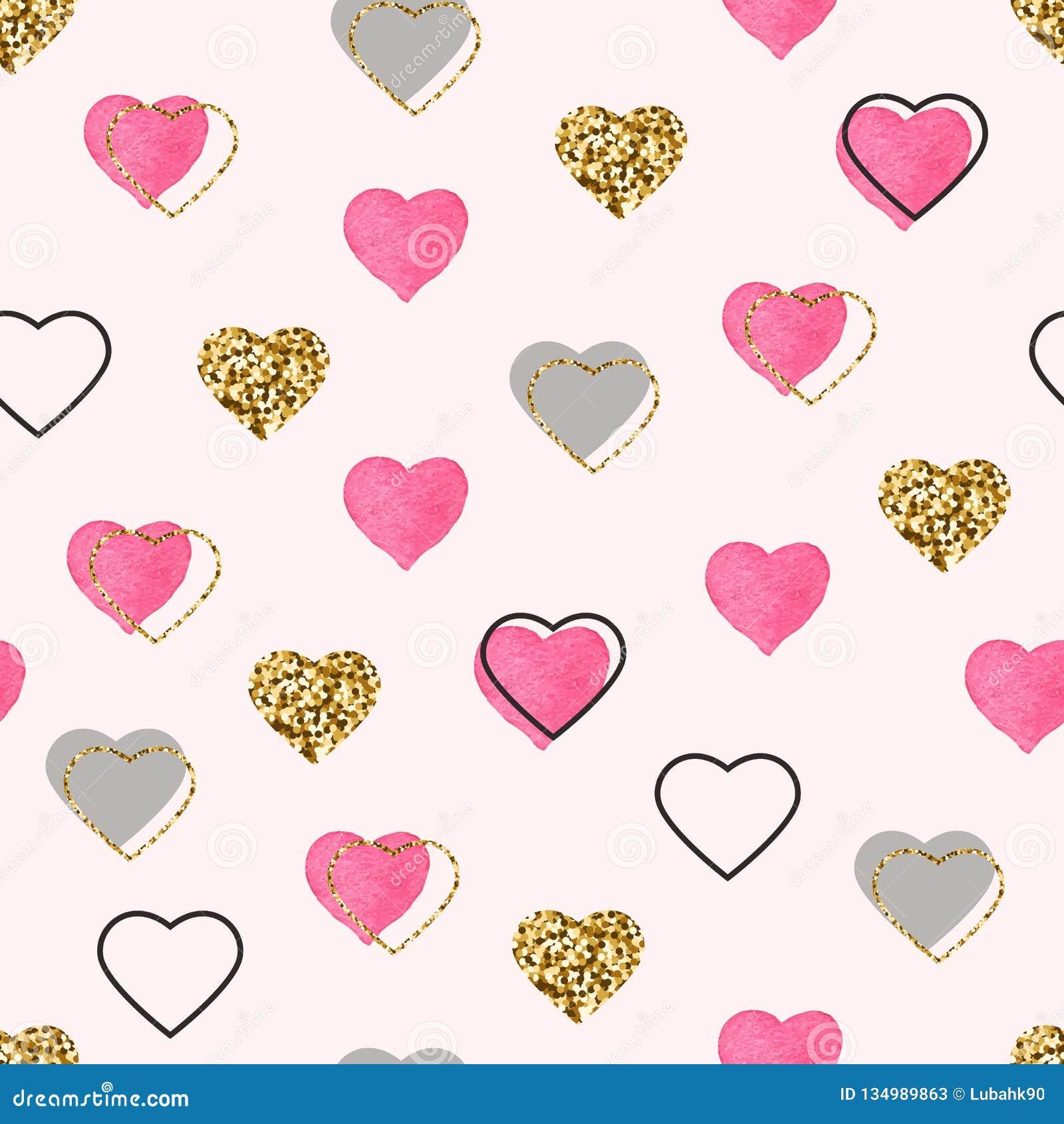 Blänka modellen för rosa hjärtor för guld och för vattenfärgen den sömlösa Hjärta för två rosa färg Ljusa klotterhjärtakonfettier