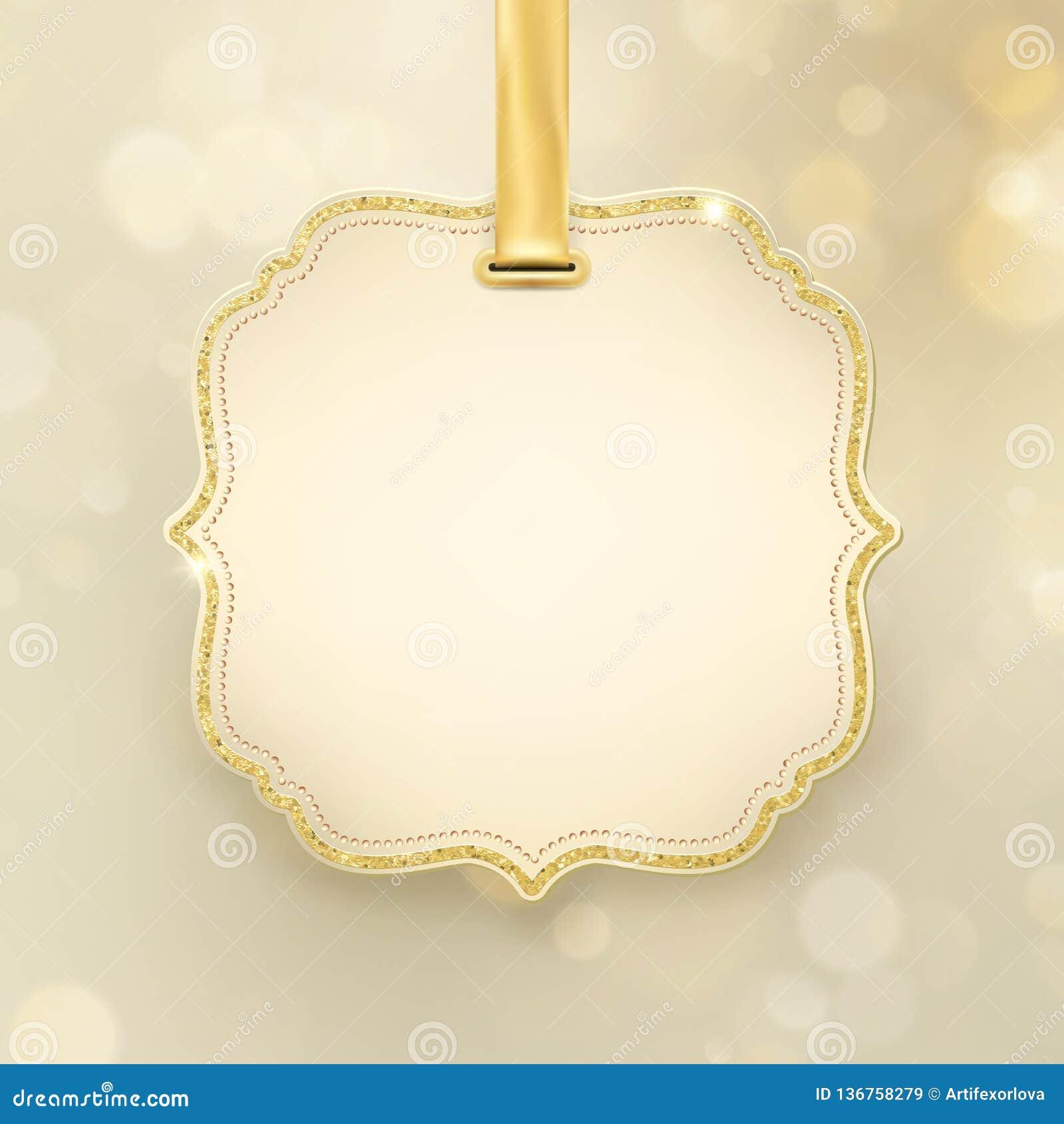 Blänker glödande abstrakt begrepp för julferie guld- bakgrund för defocused suddig bokeh med etiketten och utrymme för text 10 ep
