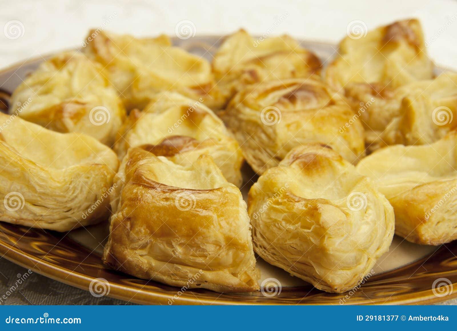 Blatterteig Mit Vanillepudding Stockbild Bild Von Kuchen