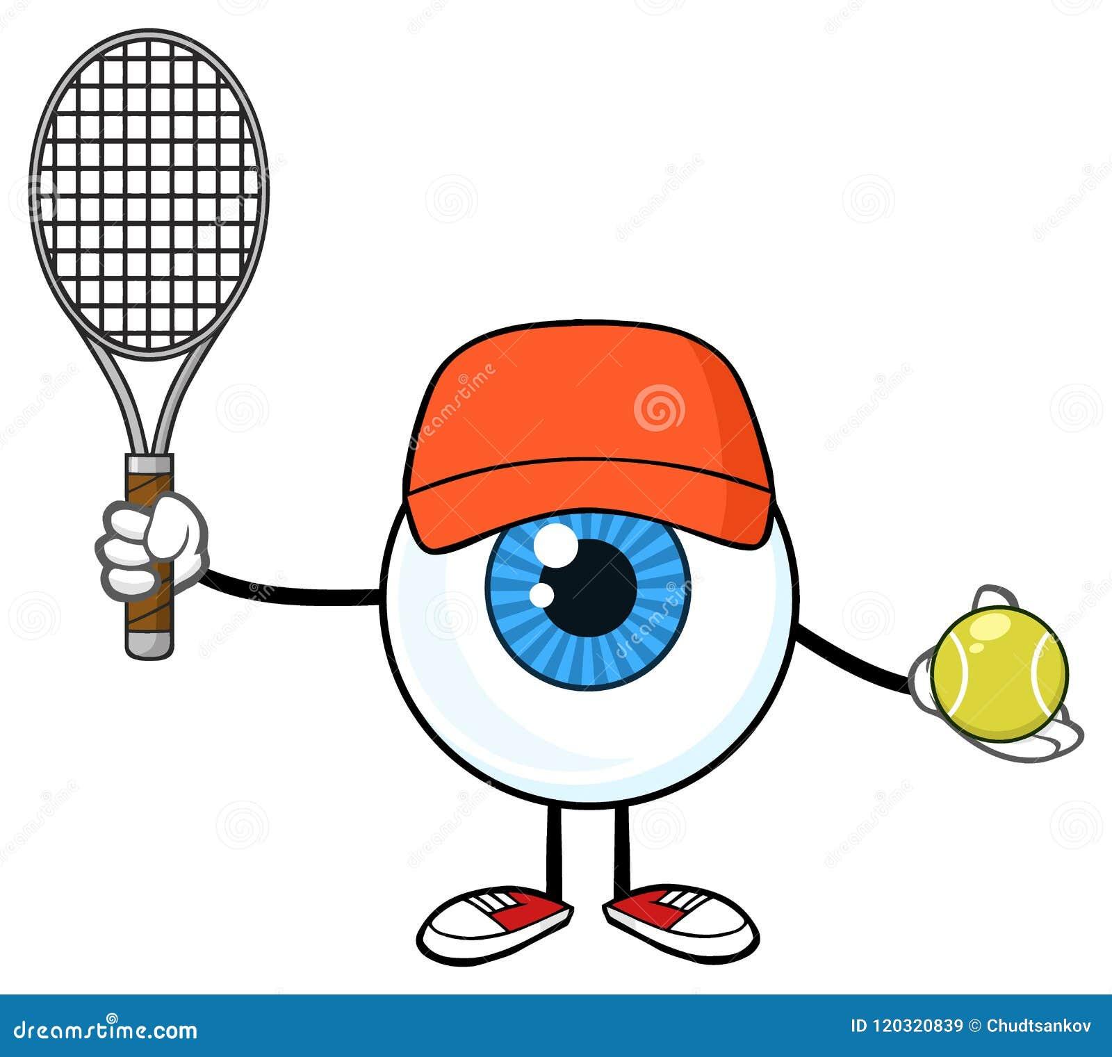 Blå ögonglob Guy Cartoon Mascot Character Holding en tennisboll och racket