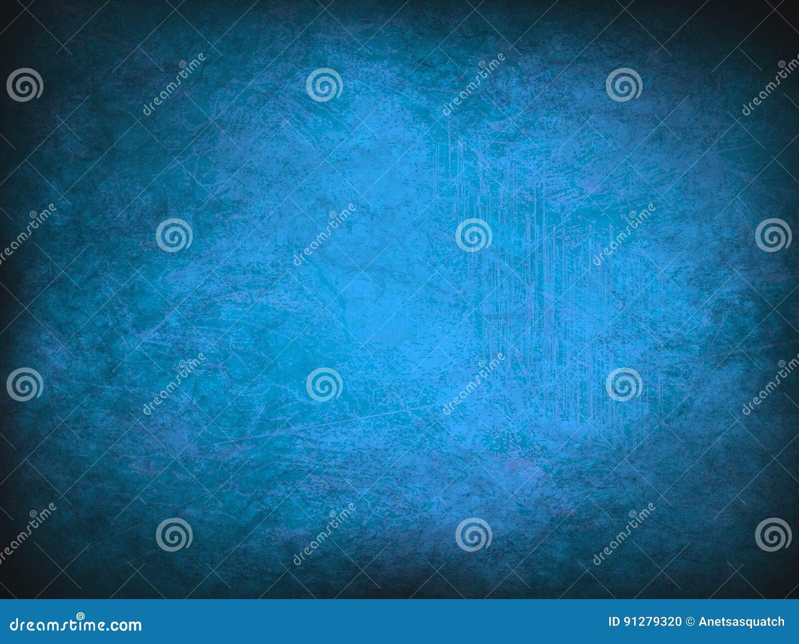 Blå abstrakt modern textur Tappninggrunde och smutsig bakgrund med mörka hörn
