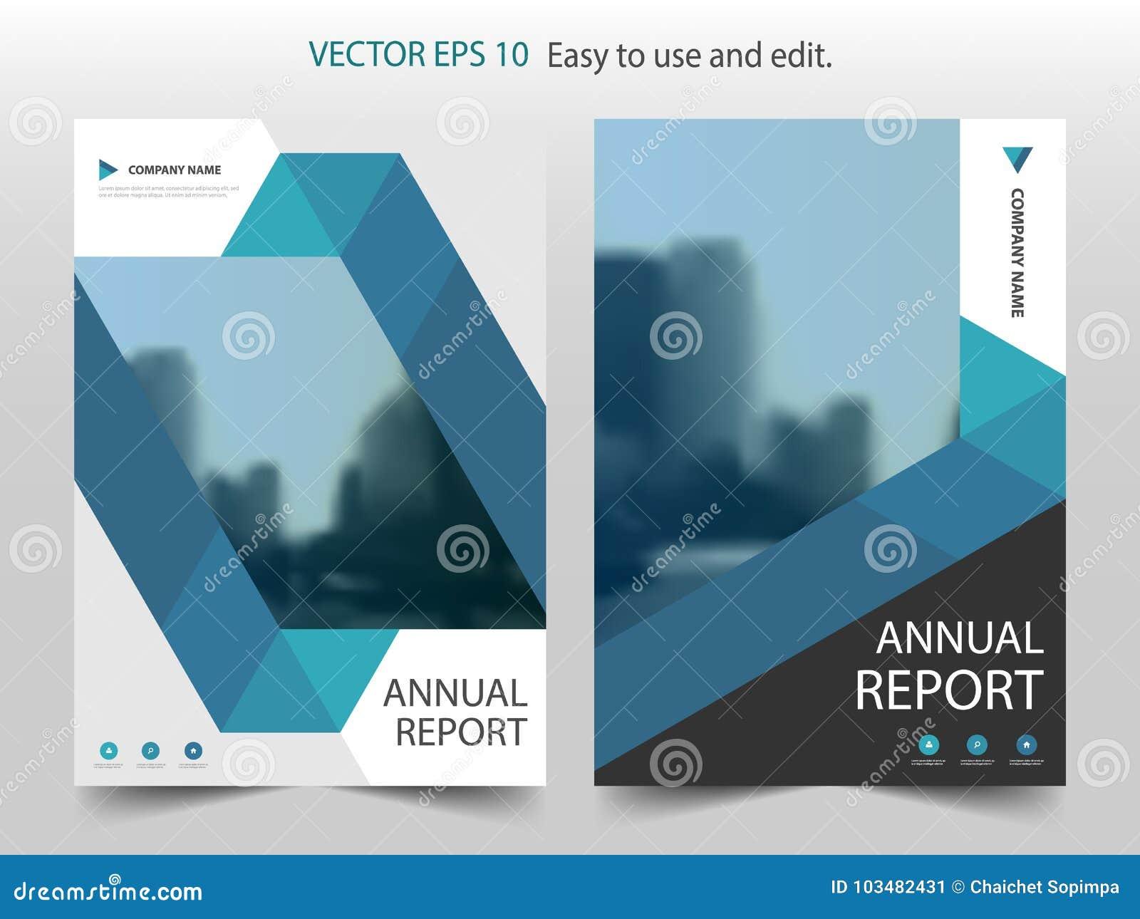 Blå abstrakt vektor för mall för design för triangelbroschyrårsrapport Affisch för tidskrift för affärsreklamblad infographic