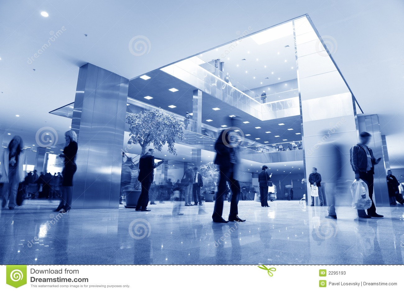 Blå affärskorridor
