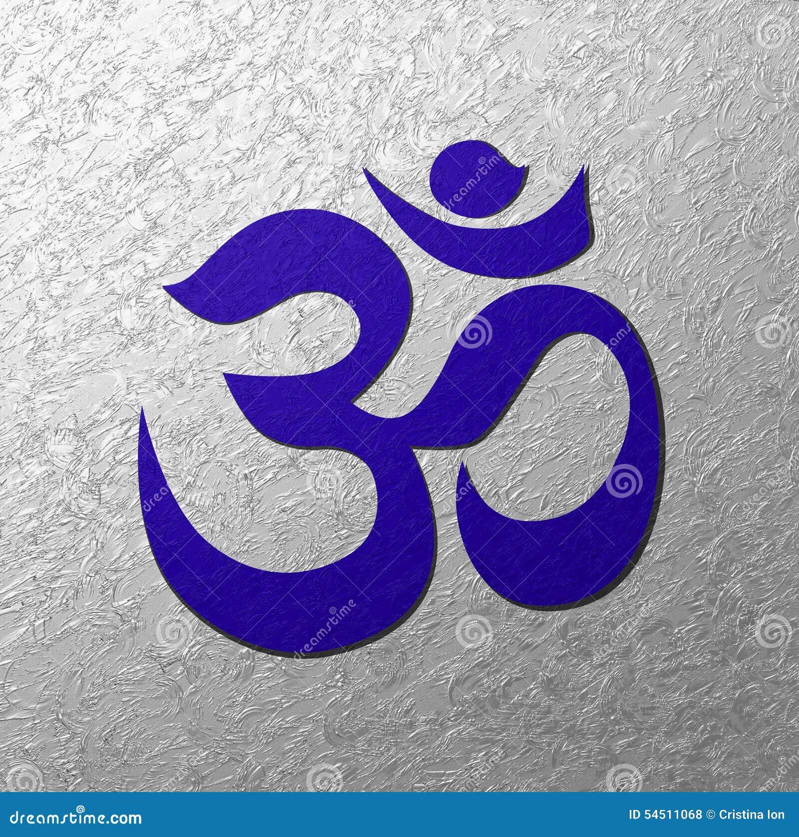 Blå bakgrund för Aum symbolsilver
