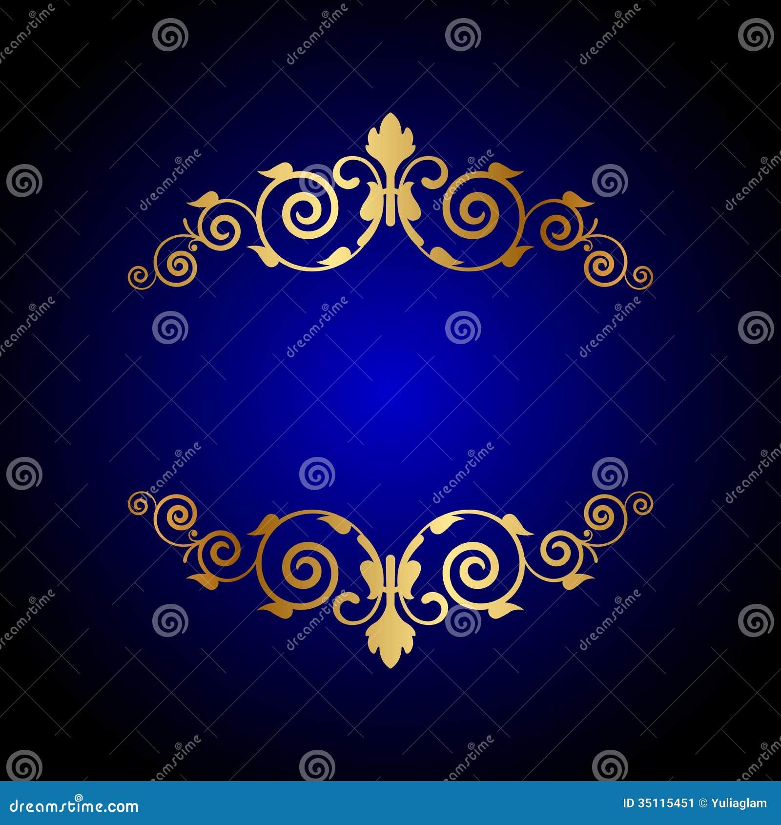 Blå bakgrund för lyx med blom- garnering