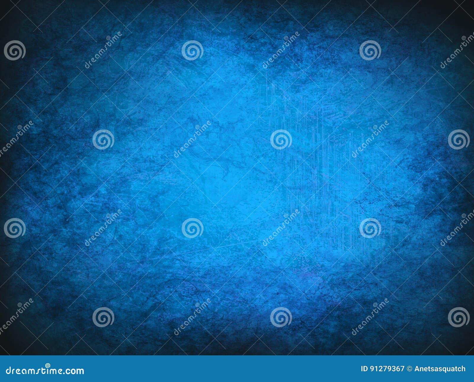 Blå bakgrund för tappningabstrakt begreppgrunge med den ljusa mittstrålkastaren Modern textur med mörka hörn