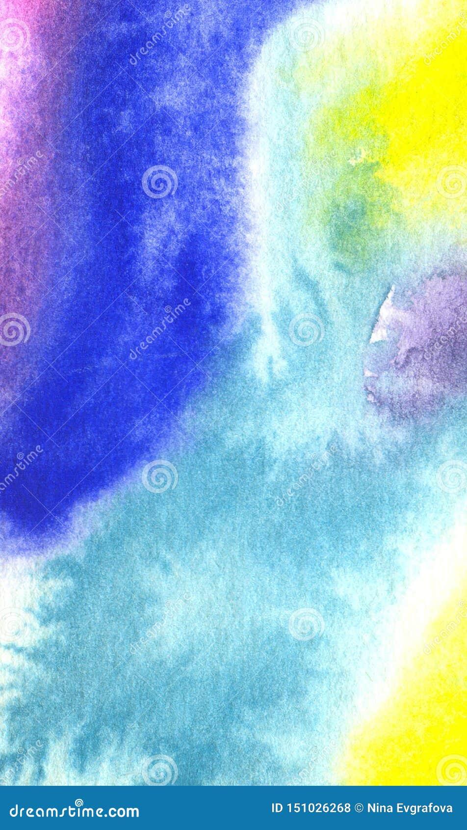 Blå bakgrund för vattenfärg med den abstrakta modellen och textur