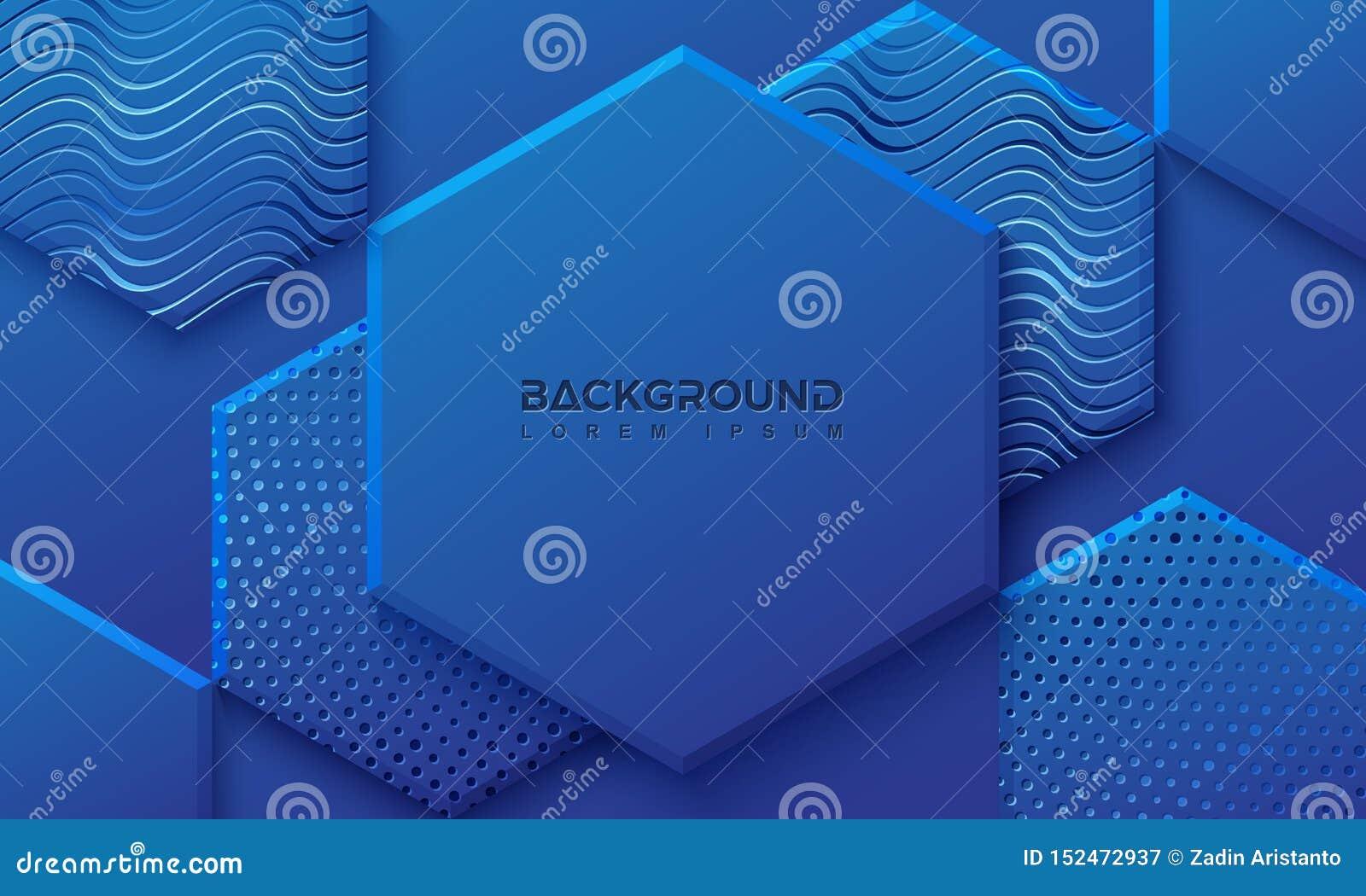 Blå bakgrund med stil 3D Sexhörningsbakgrund med en kombination av prickar och linjer vektor f?r bakgrund eps10