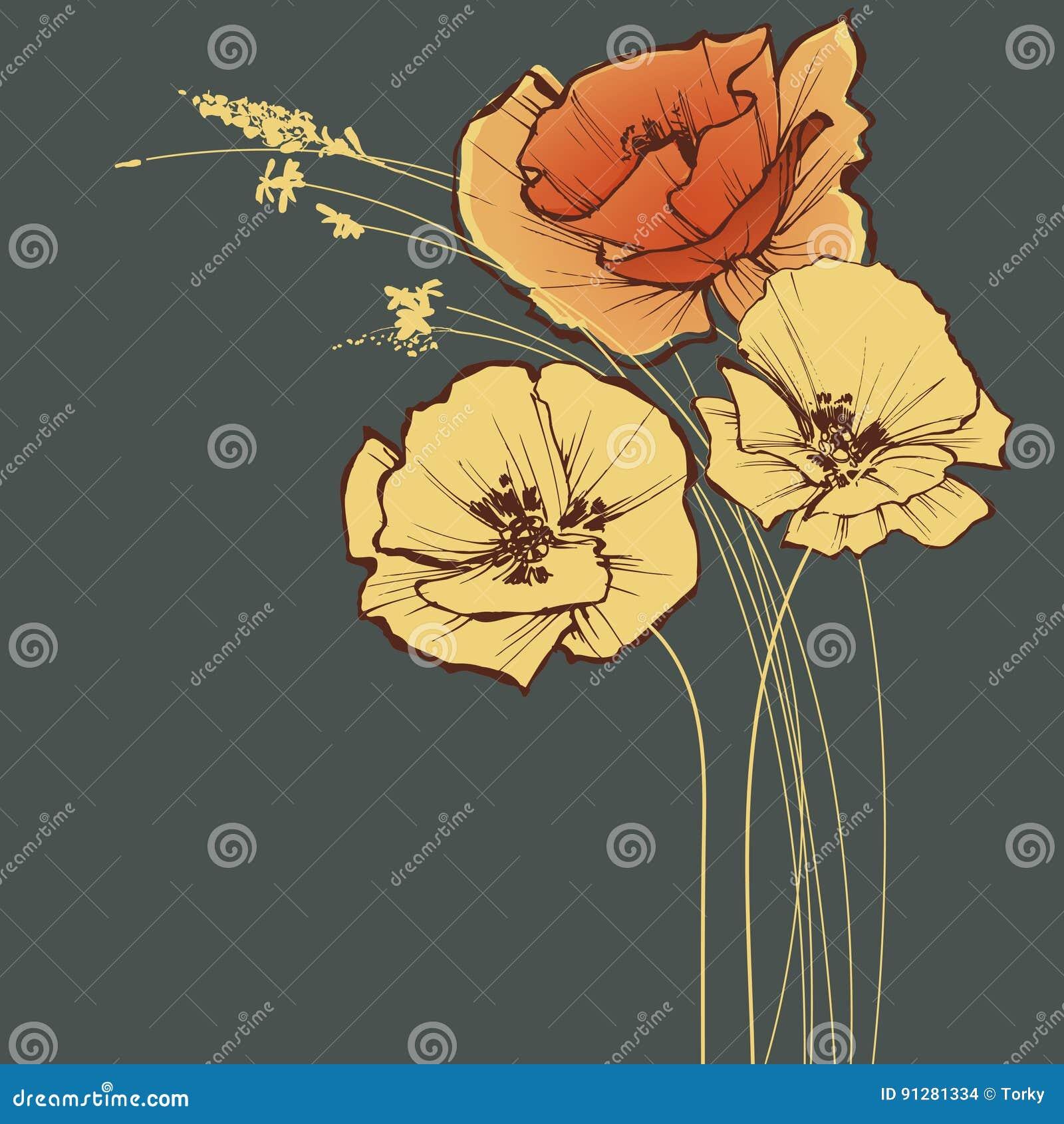 Blå blom- hälsning för kortdesign