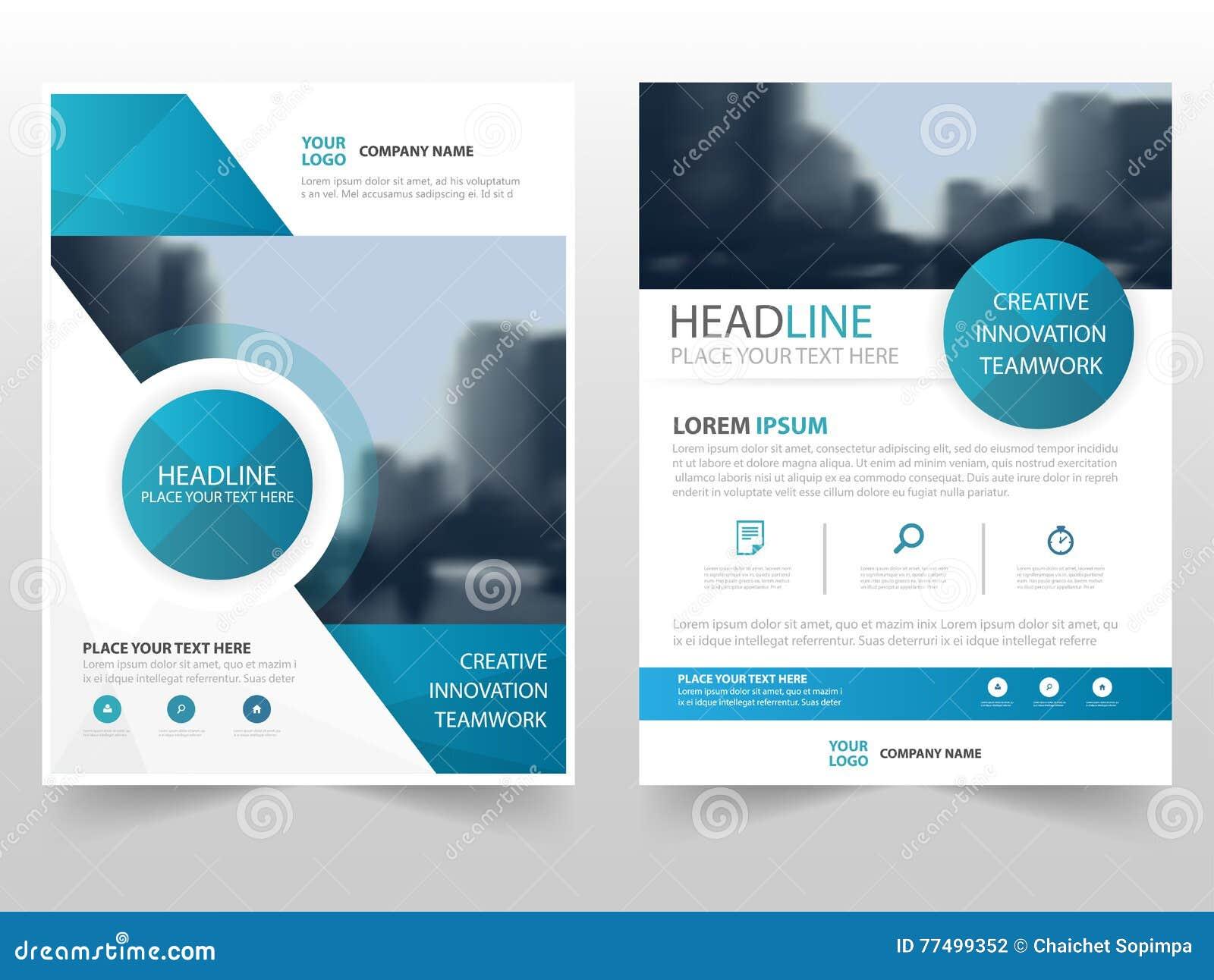 Blå design för mall för årsrapport för reklamblad för broschyr för broschyr för cirkelteknologiaffär, bokomslagorienteringsdesign