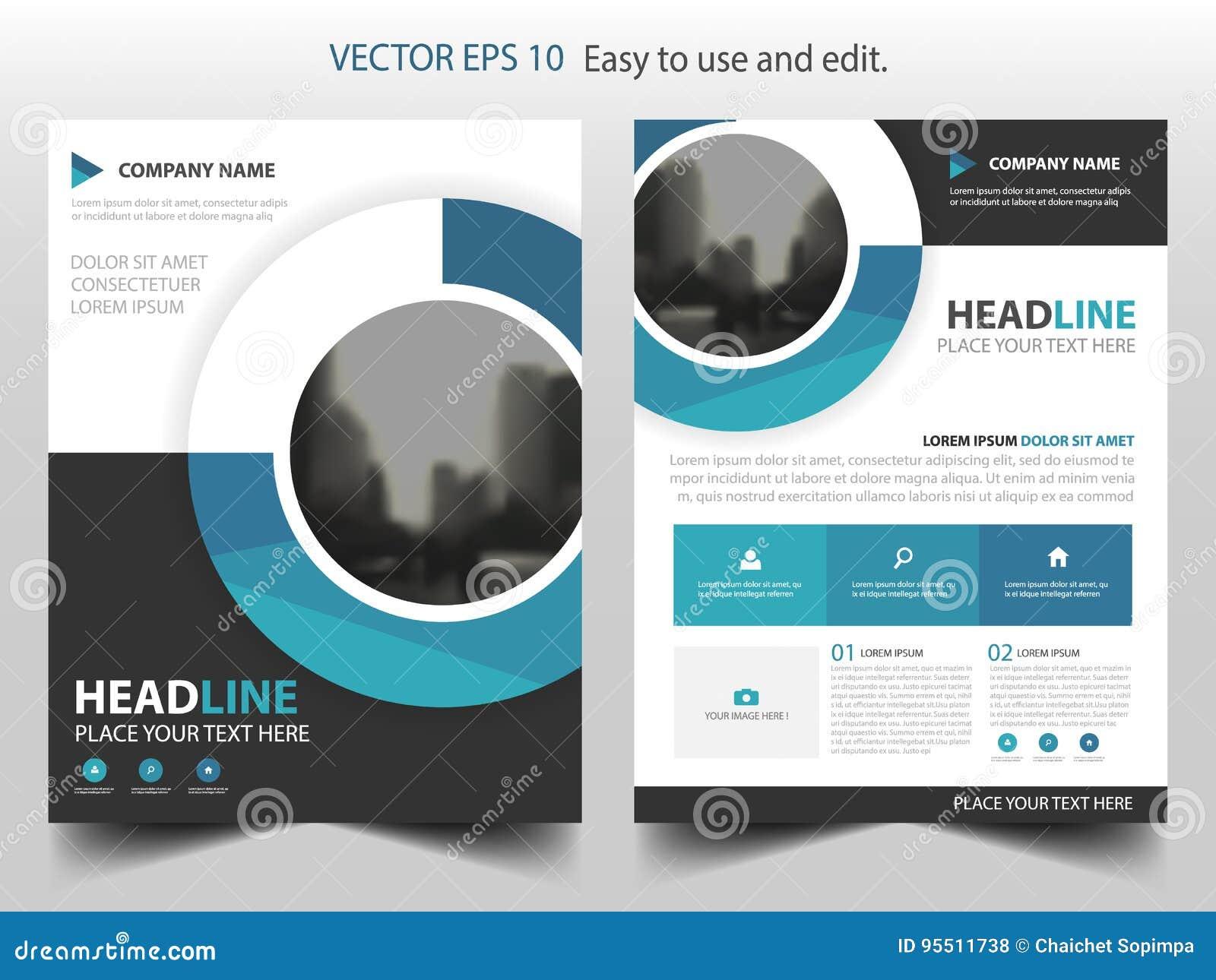 Blå design för mall för årsrapport för reklamblad för broschyr för cirkelaffärsbroschyr, bokomslagorienteringsdesign,