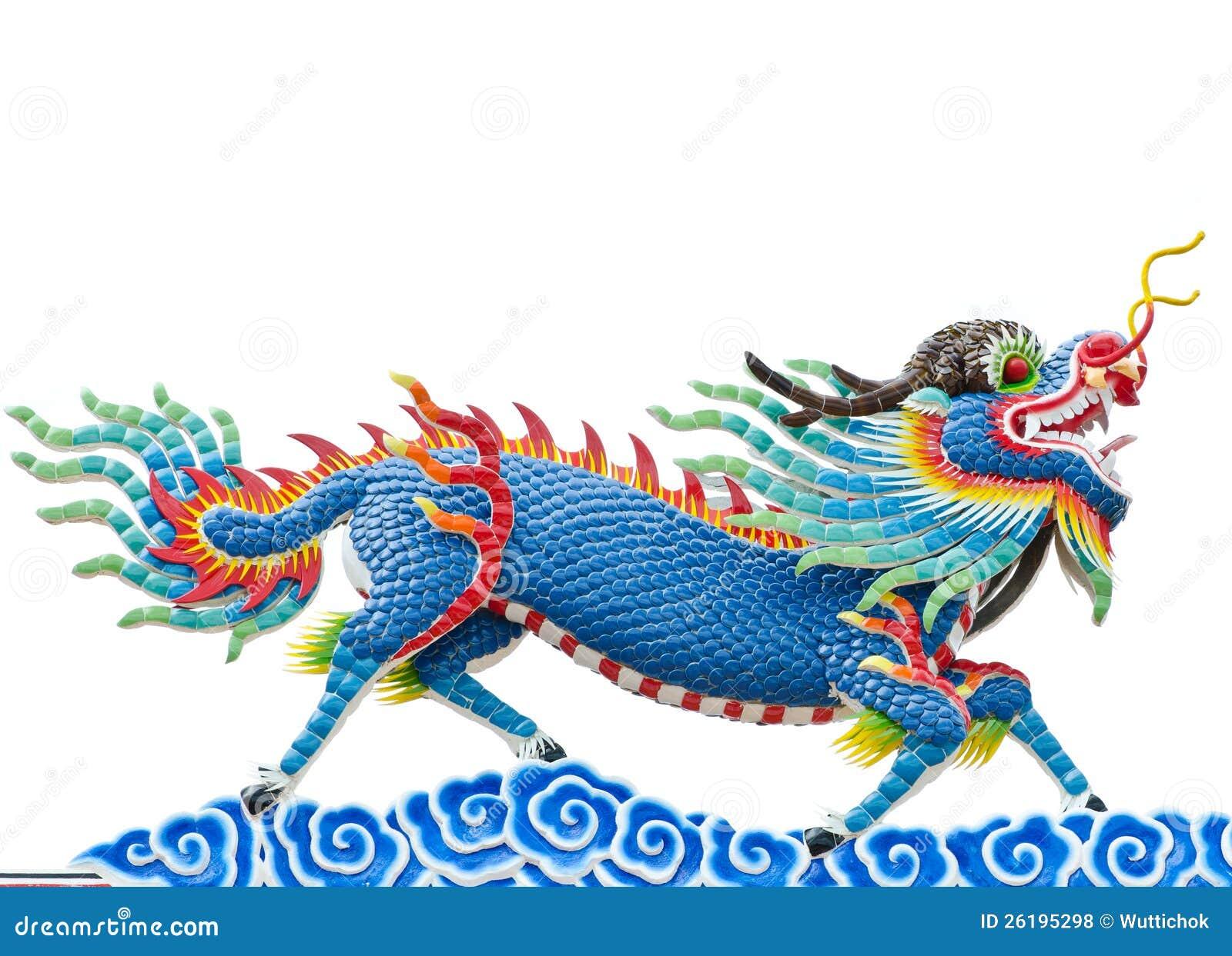 Blå drakestaty för kinesisk stil