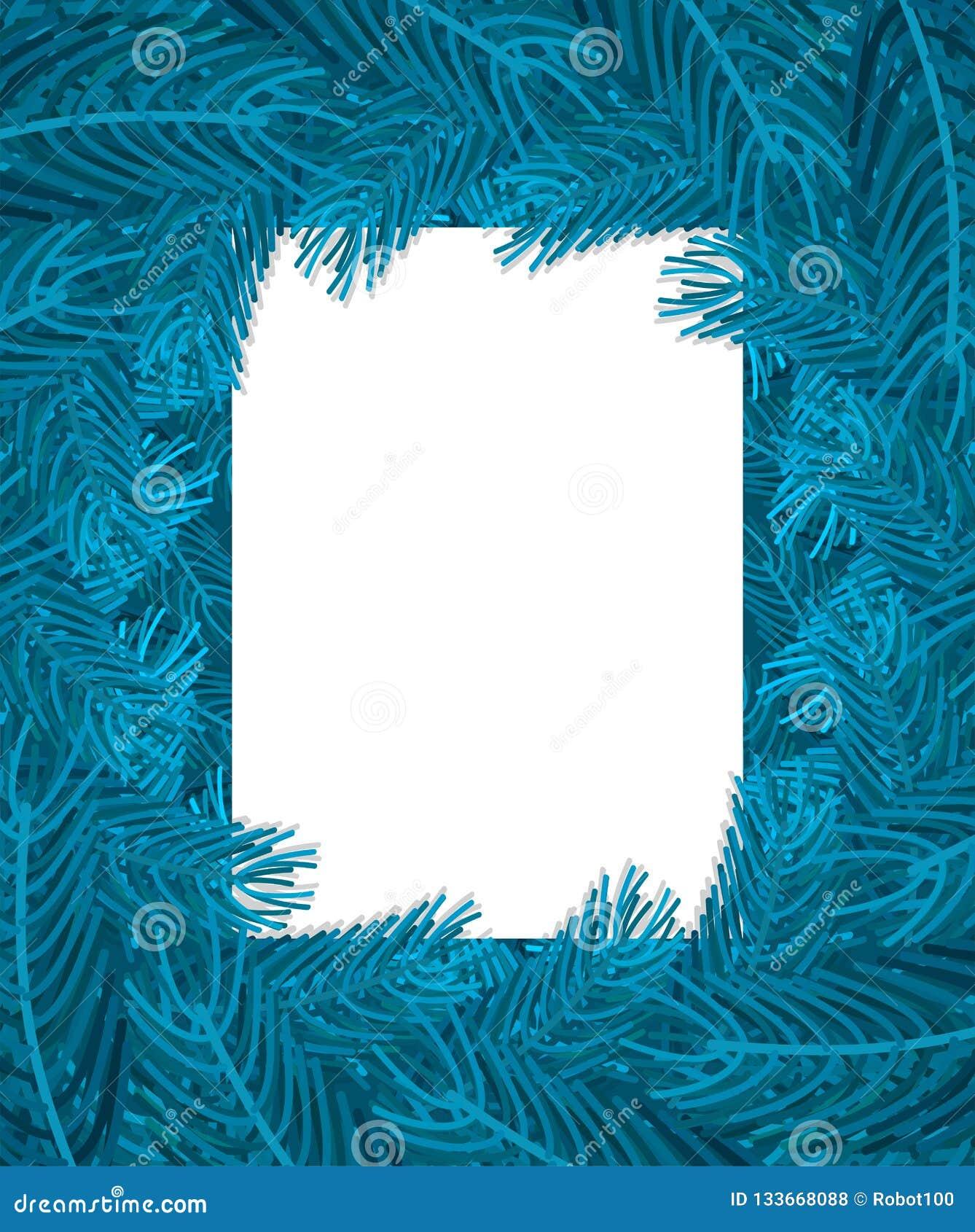 Blå filialram för julgran Xmas-bakgrundsfilial av pi