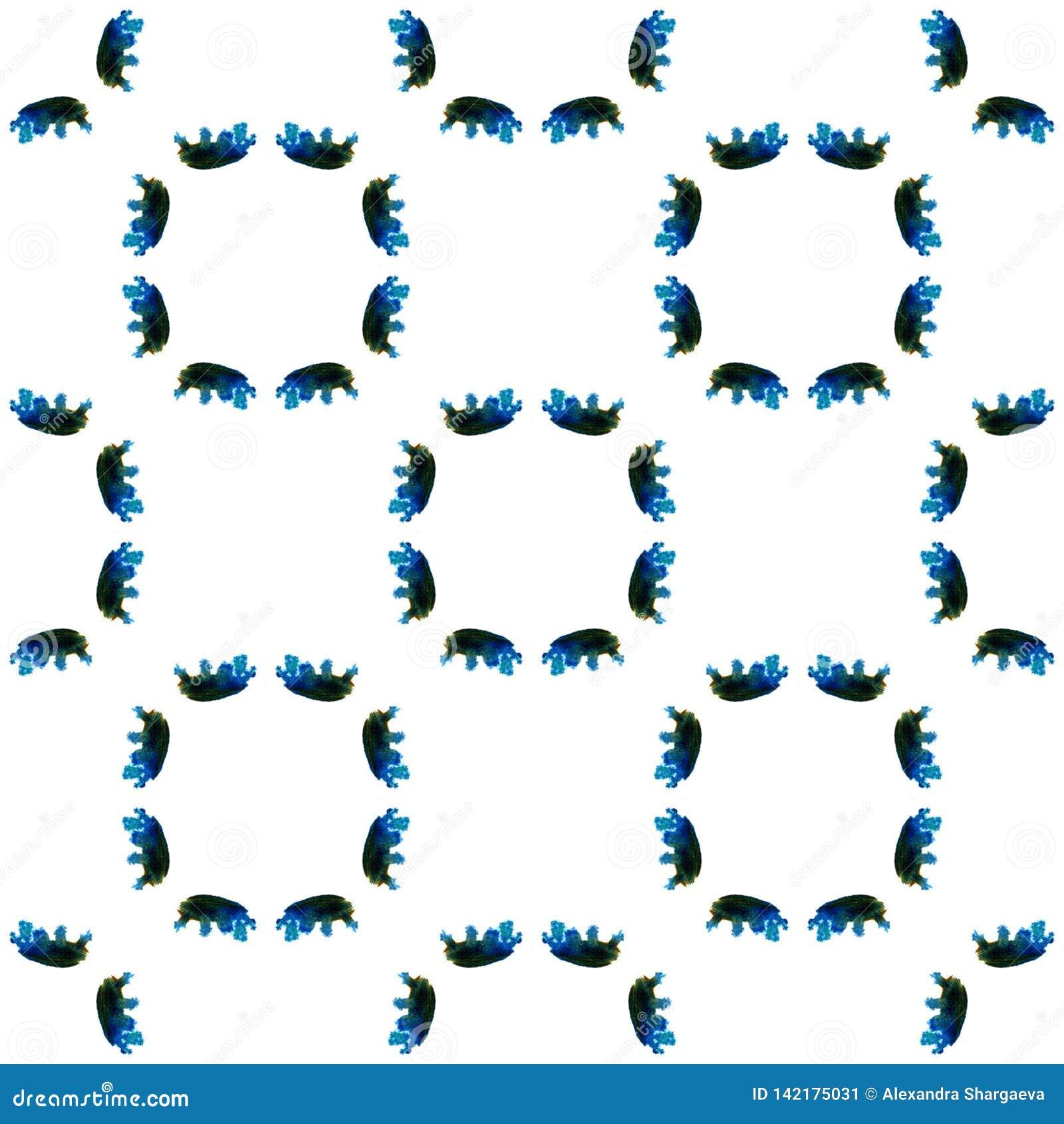 Blå geometrisk vattenfärg seamless modell Yttersidaprydnad